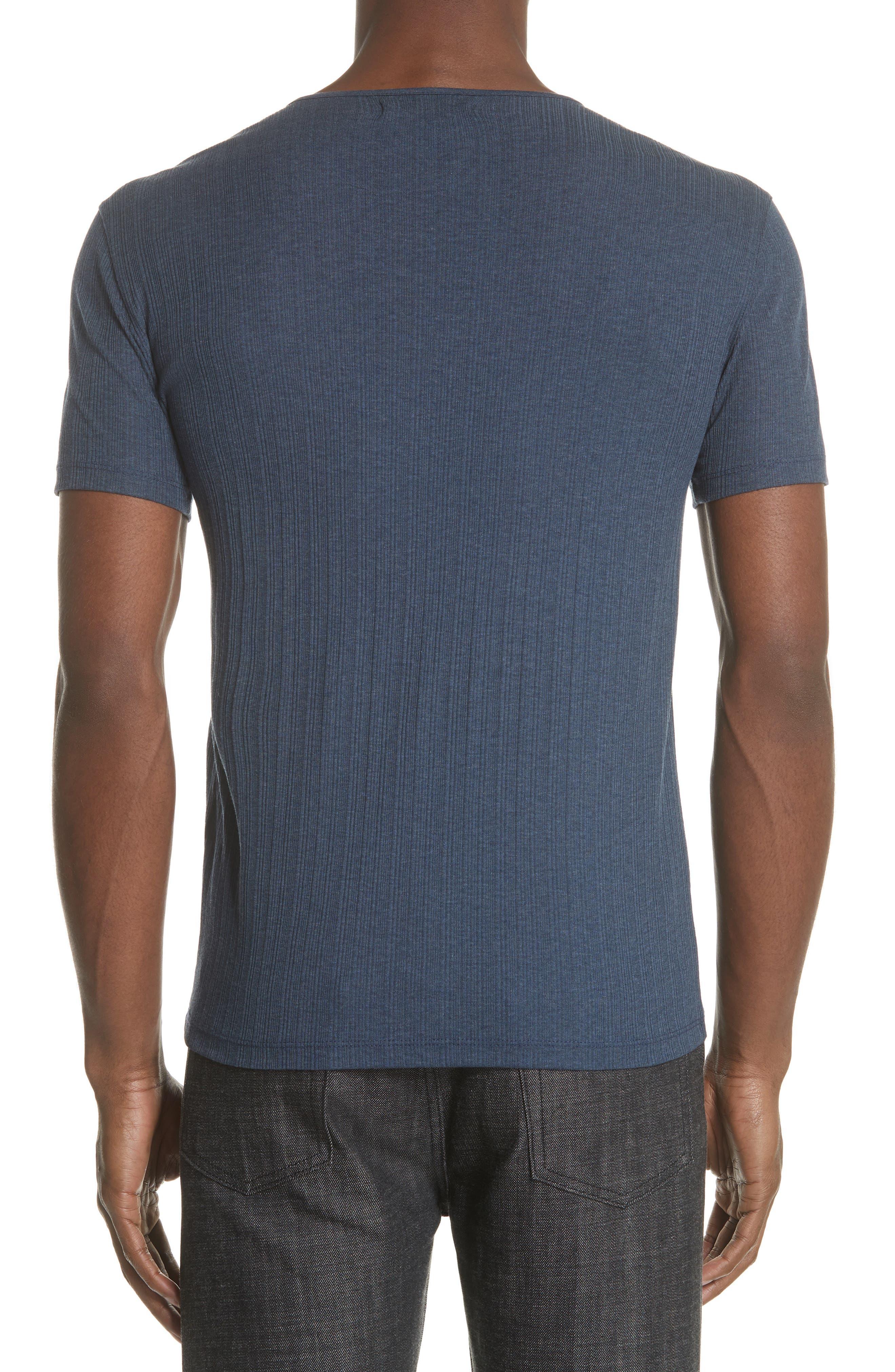Rib Henley T-Shirt,                             Alternate thumbnail 2, color,                             ATLANTIC BLUE