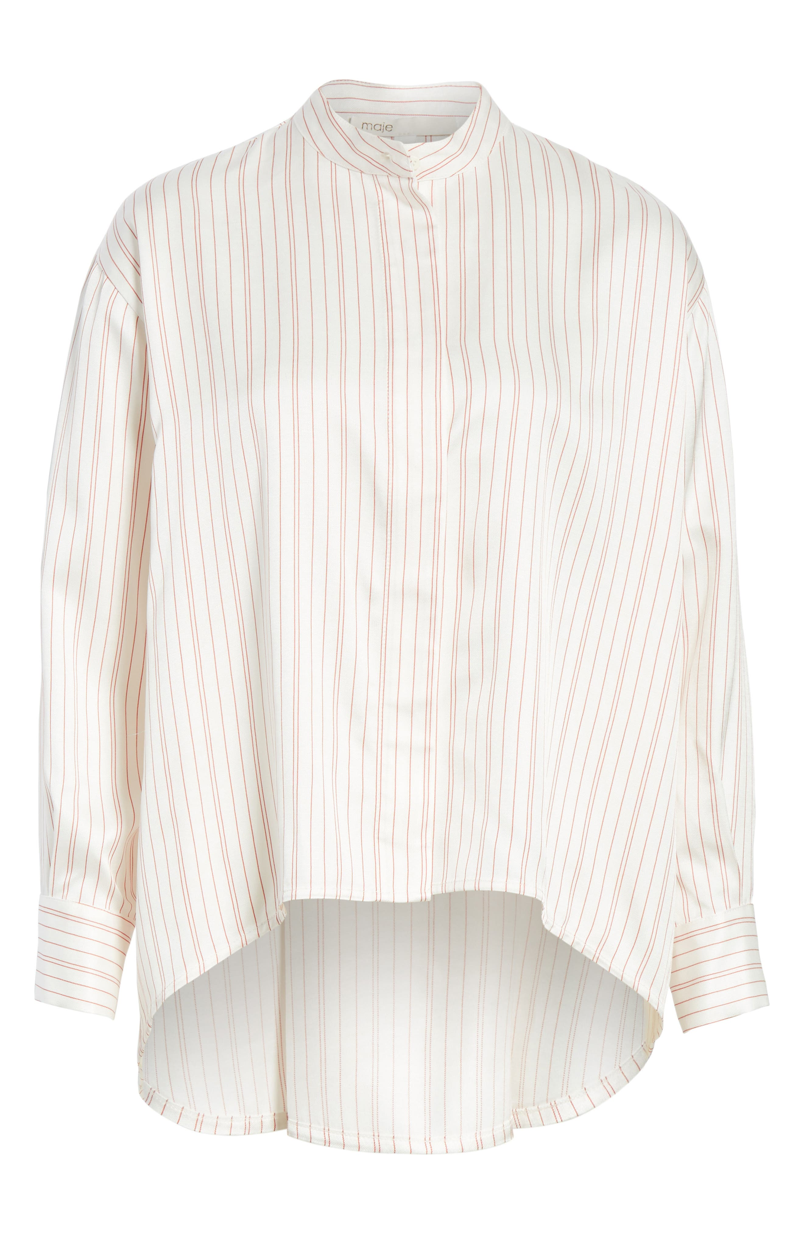 Stripe High/Low Blouse,                             Alternate thumbnail 6, color,                             100