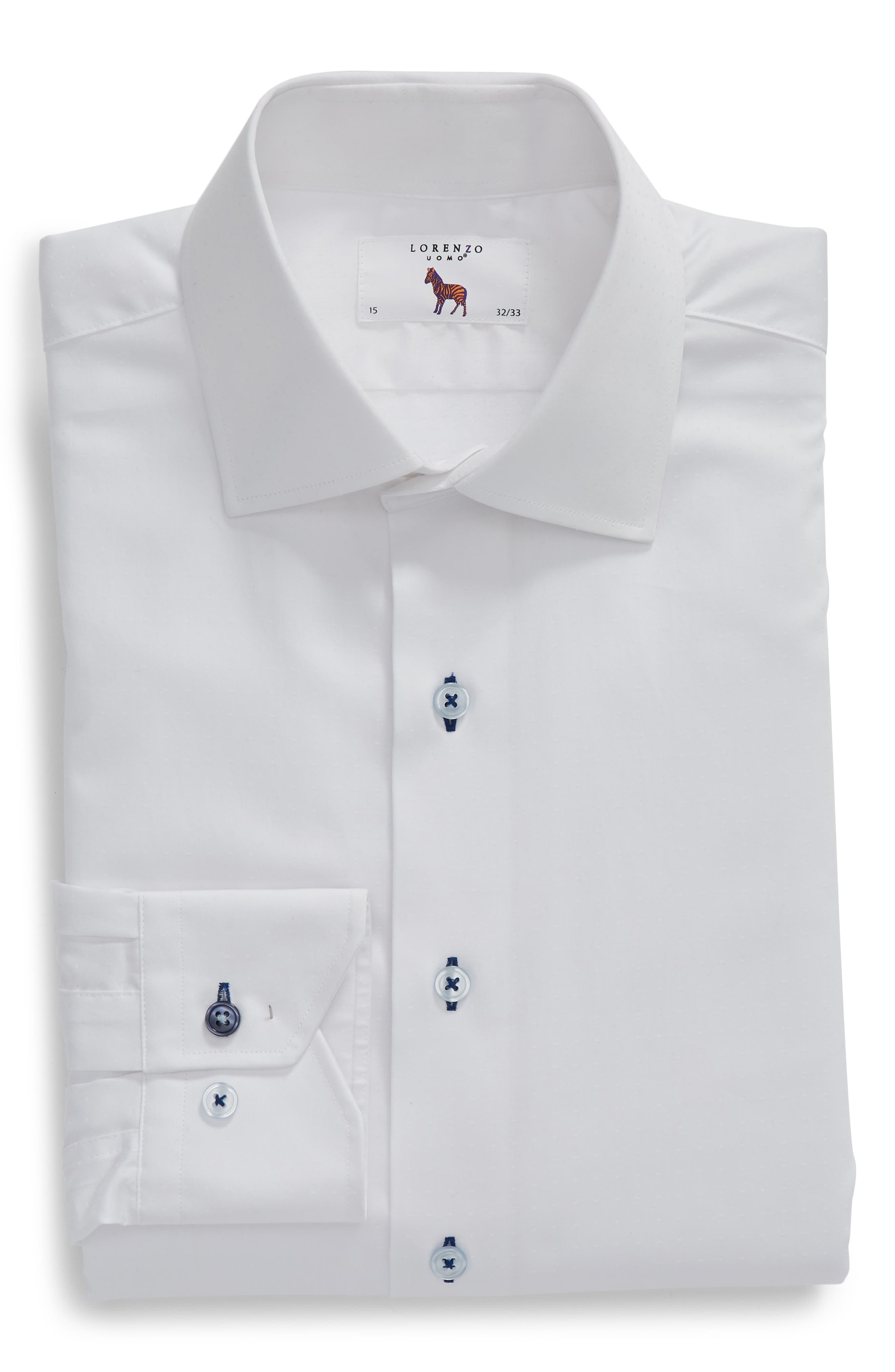 Trim Fit Dot Dress Shirt,                             Alternate thumbnail 5, color,                             WHITE