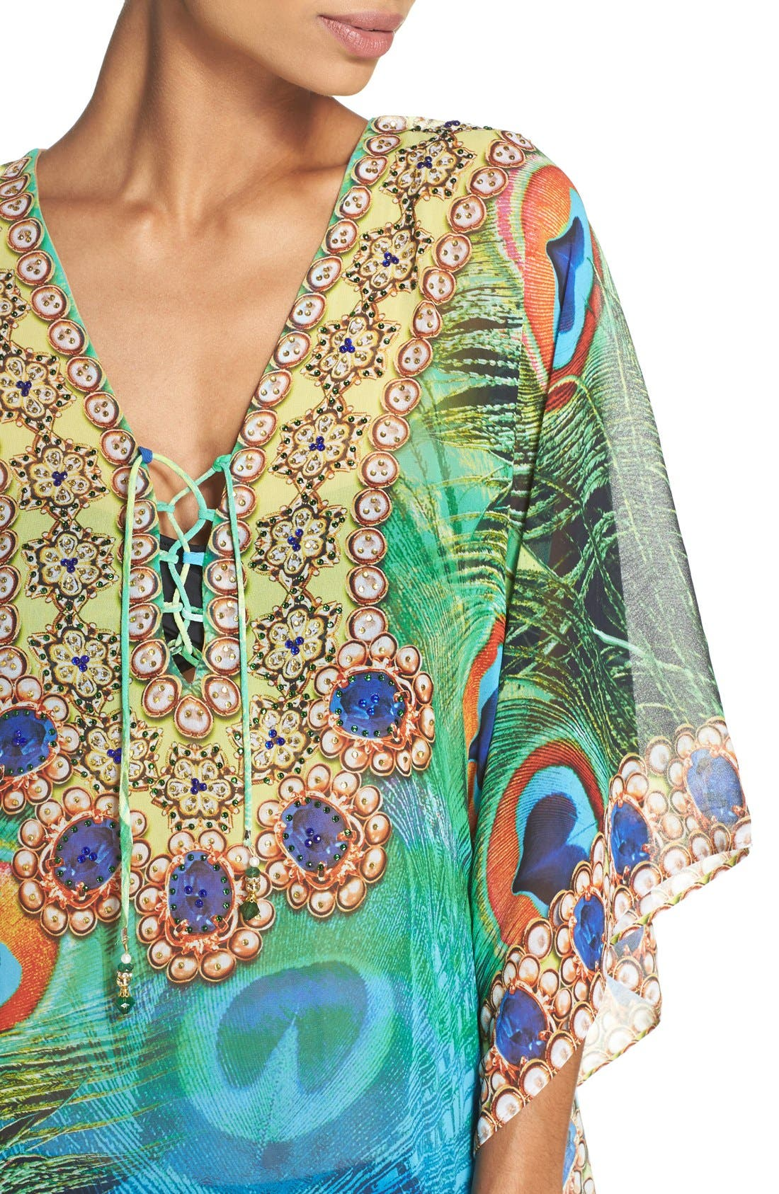 Kashmir Short Kaftan,                             Alternate thumbnail 4, color,                             GREEN