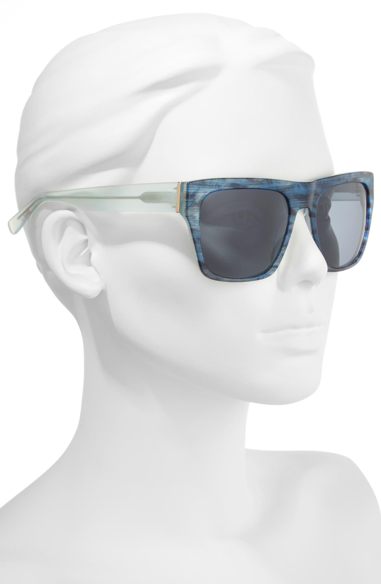 57mm Gradient Square Sunglasses,                             Alternate thumbnail 2, color,                             BLUE FEATHER