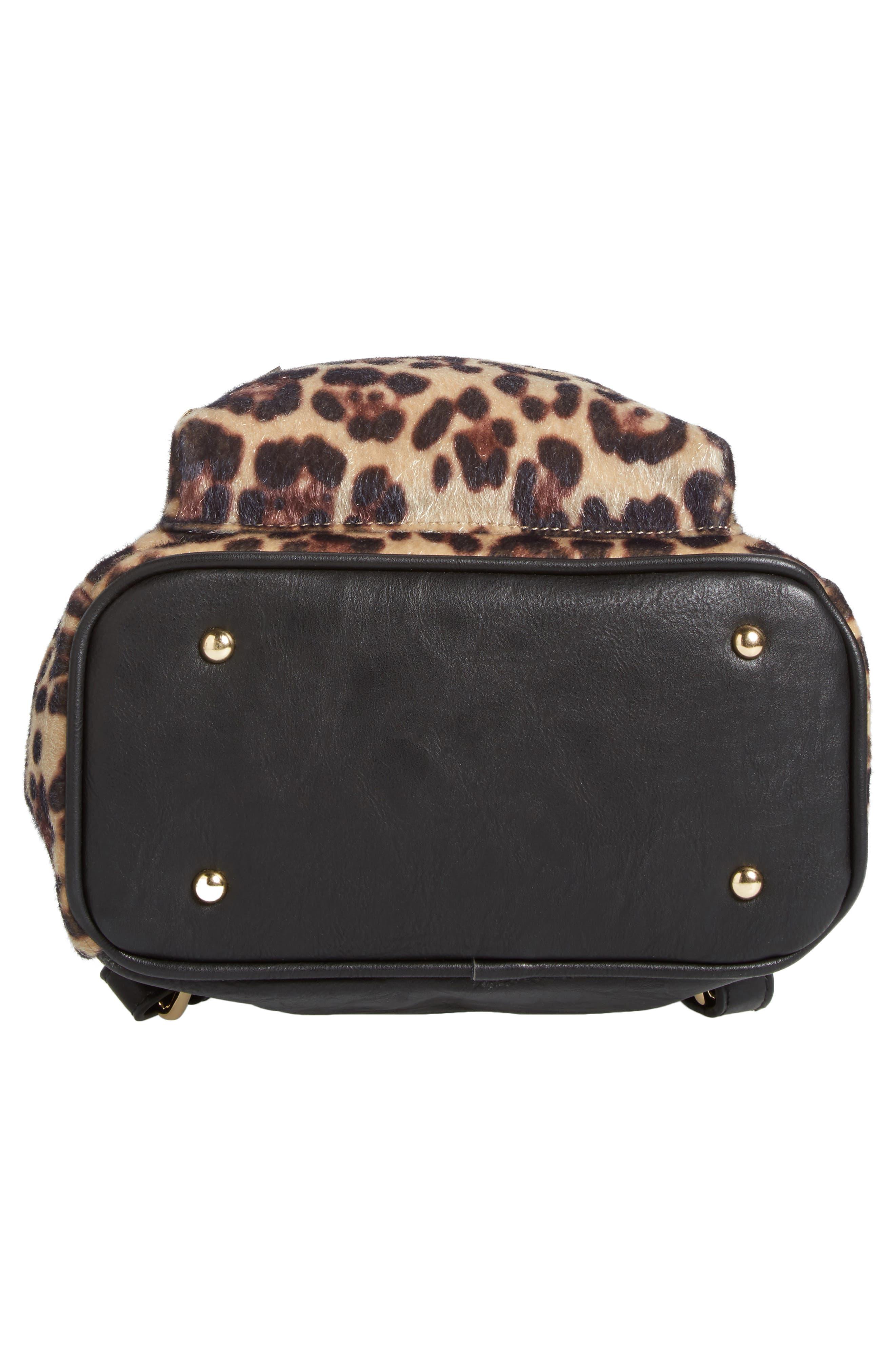 Leopard Print Faux Fur Backpack,                             Alternate thumbnail 6, color,                             200