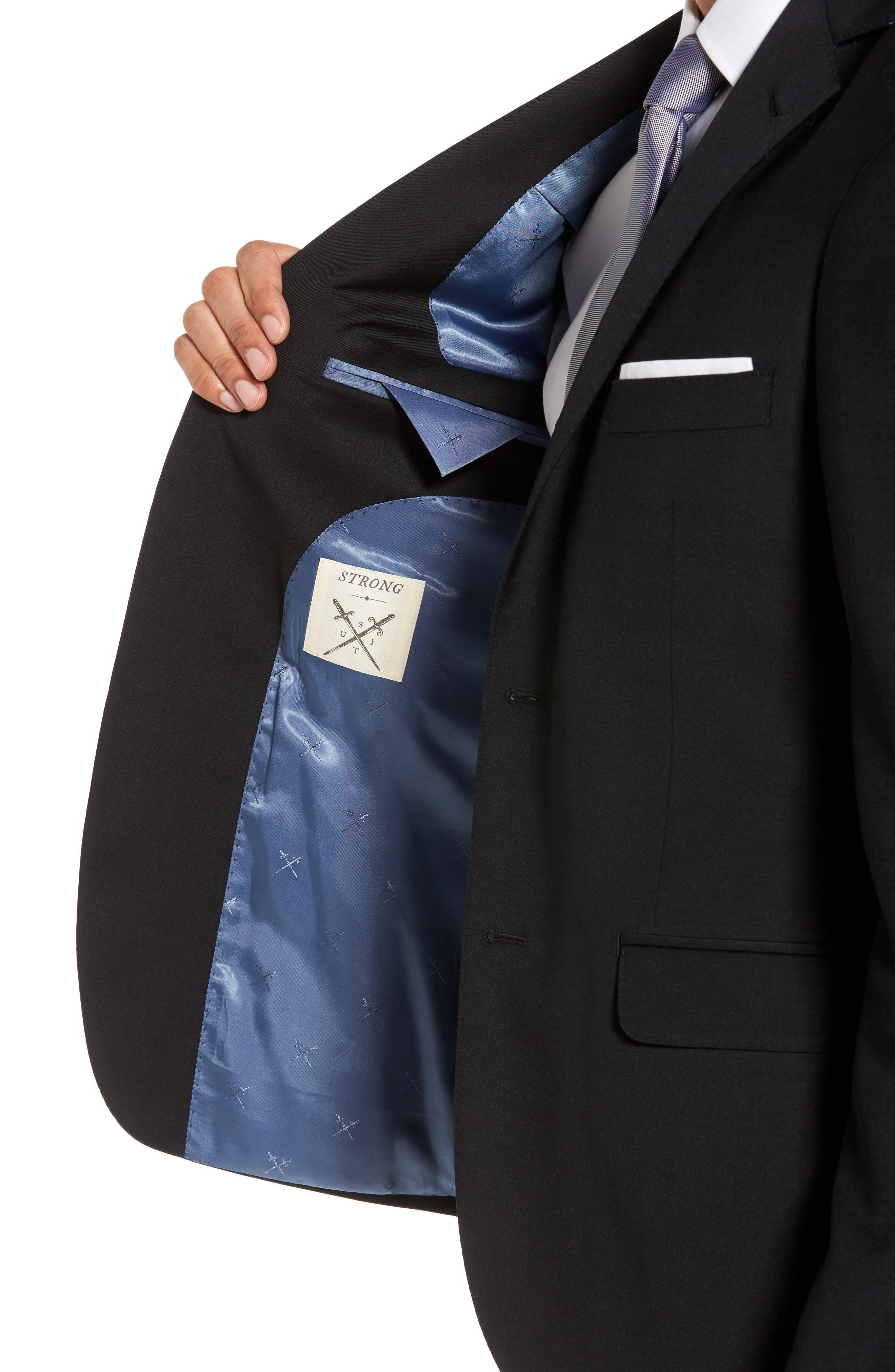 Trim Fit Stretch Solid Wool Blazer,                             Alternate thumbnail 4, color,