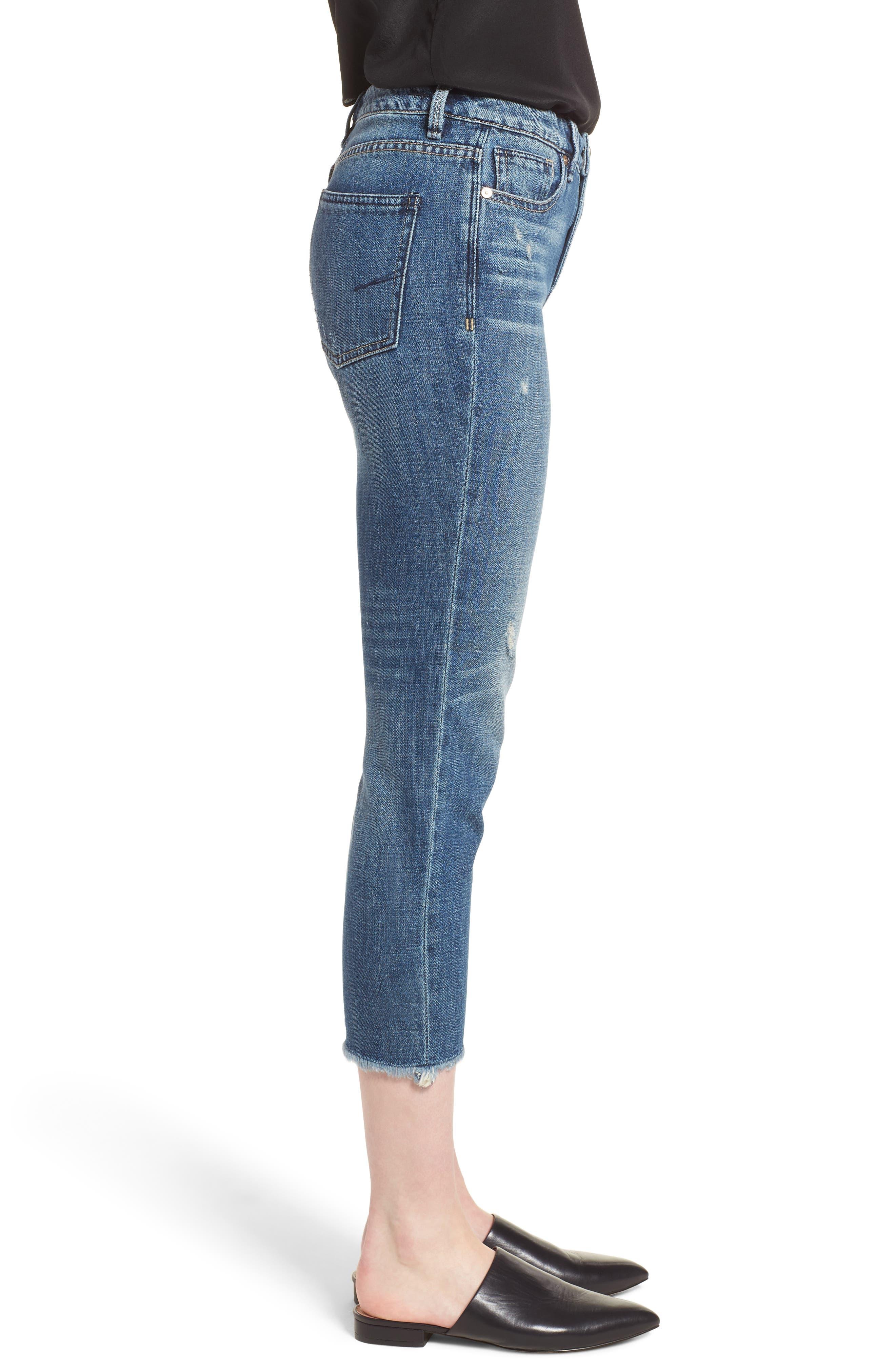 Vale Slant Fray Hem Jeans,                             Alternate thumbnail 3, color,                             401