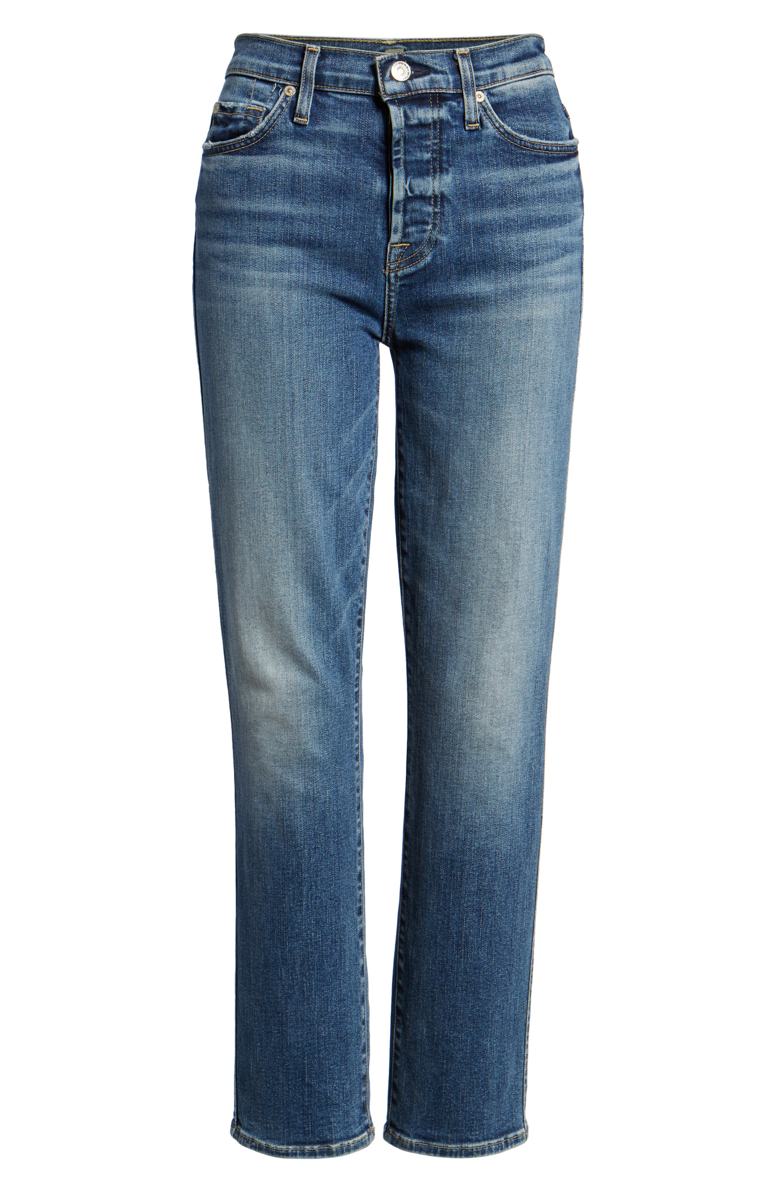 7 FOR ALL MANKIND<SUP>®</SUP>,                             Edie High Waist Ankle Straight Leg Jeans,                             Alternate thumbnail 7, color,                             AUTHENTIC MEDIUM