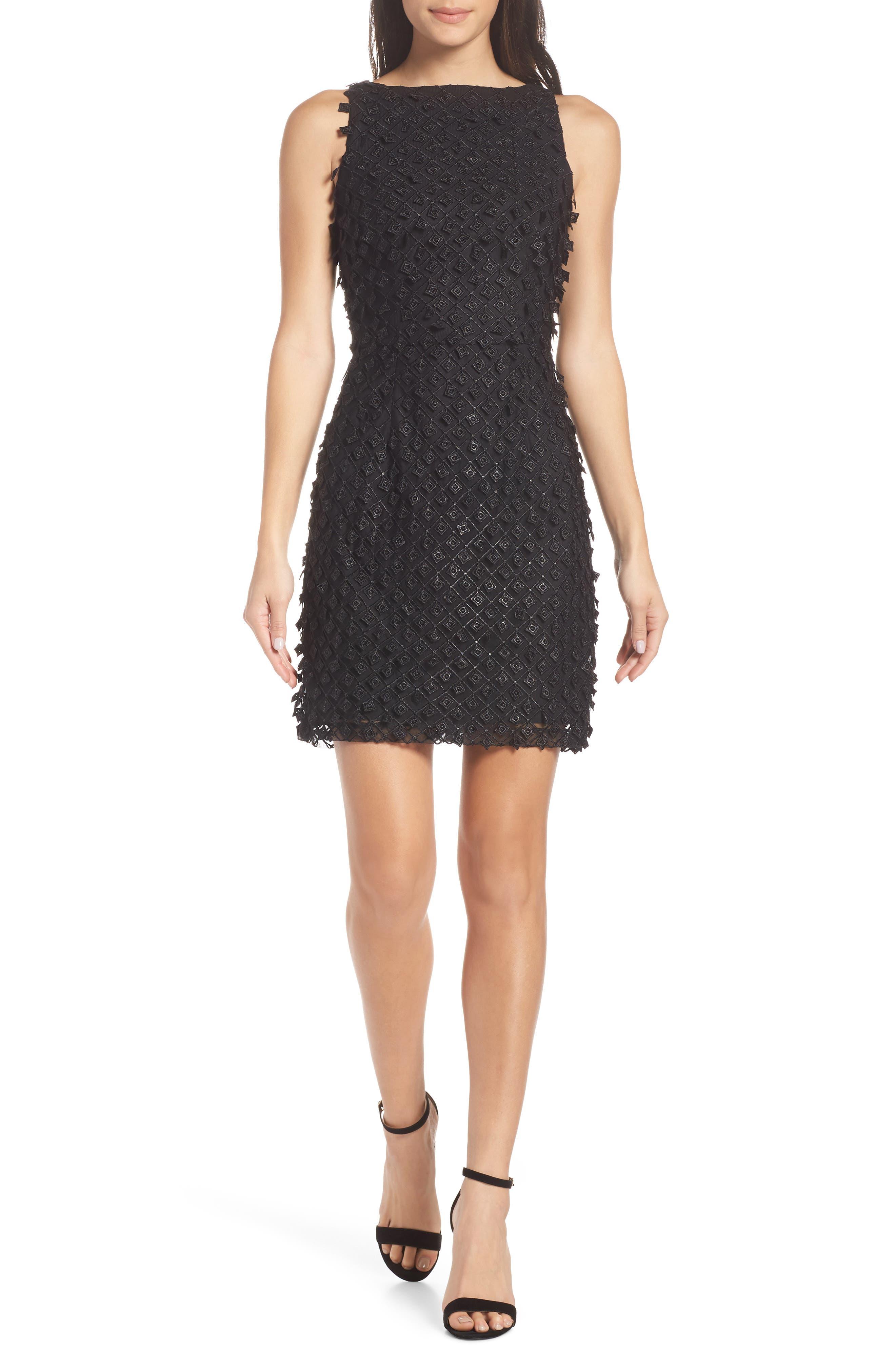 Cooper St Lustre 3D Embroidered Minidress, Black