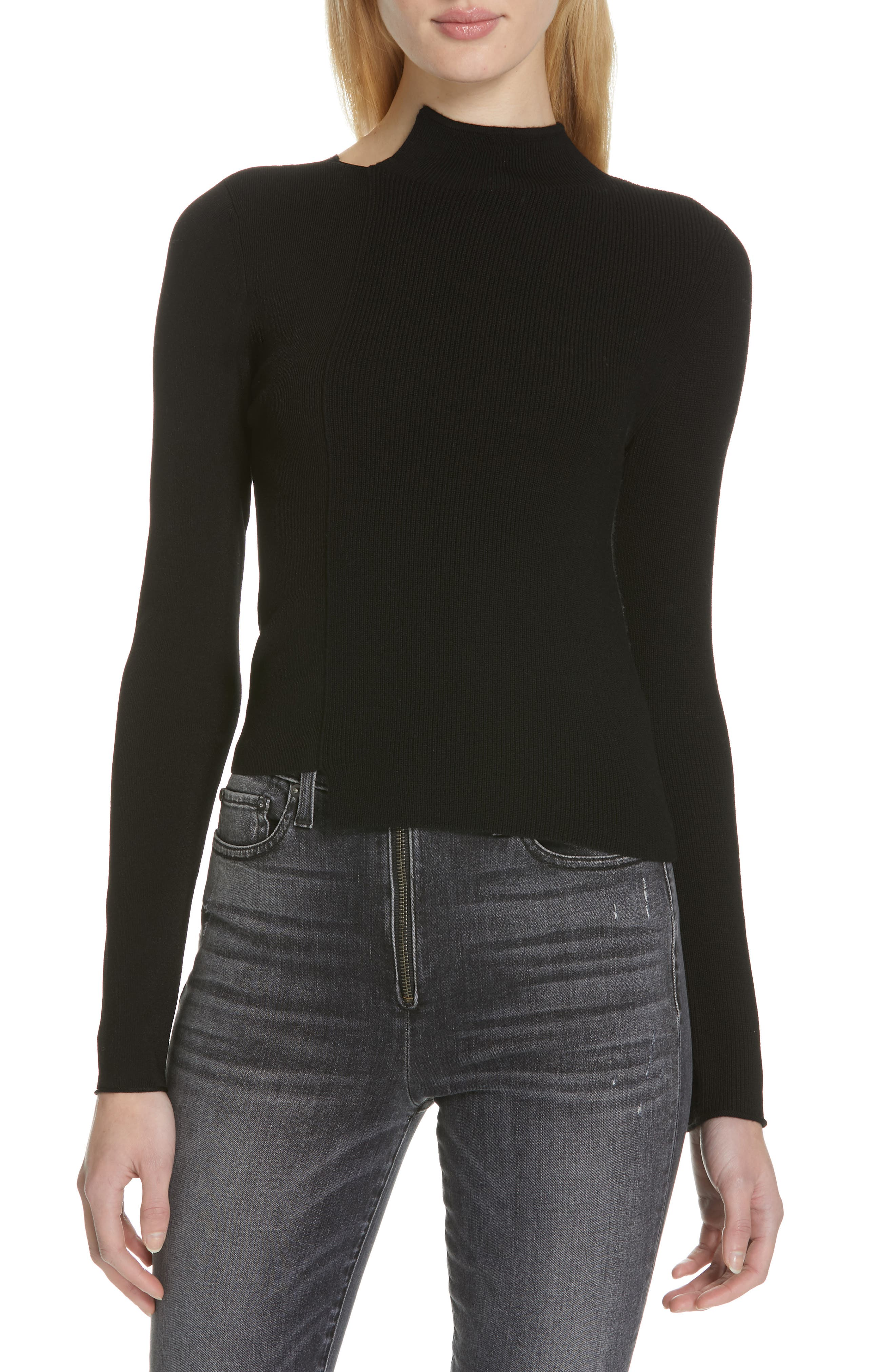 Alice + Olivia Lebell Deconstructed Wool Blend Sweater