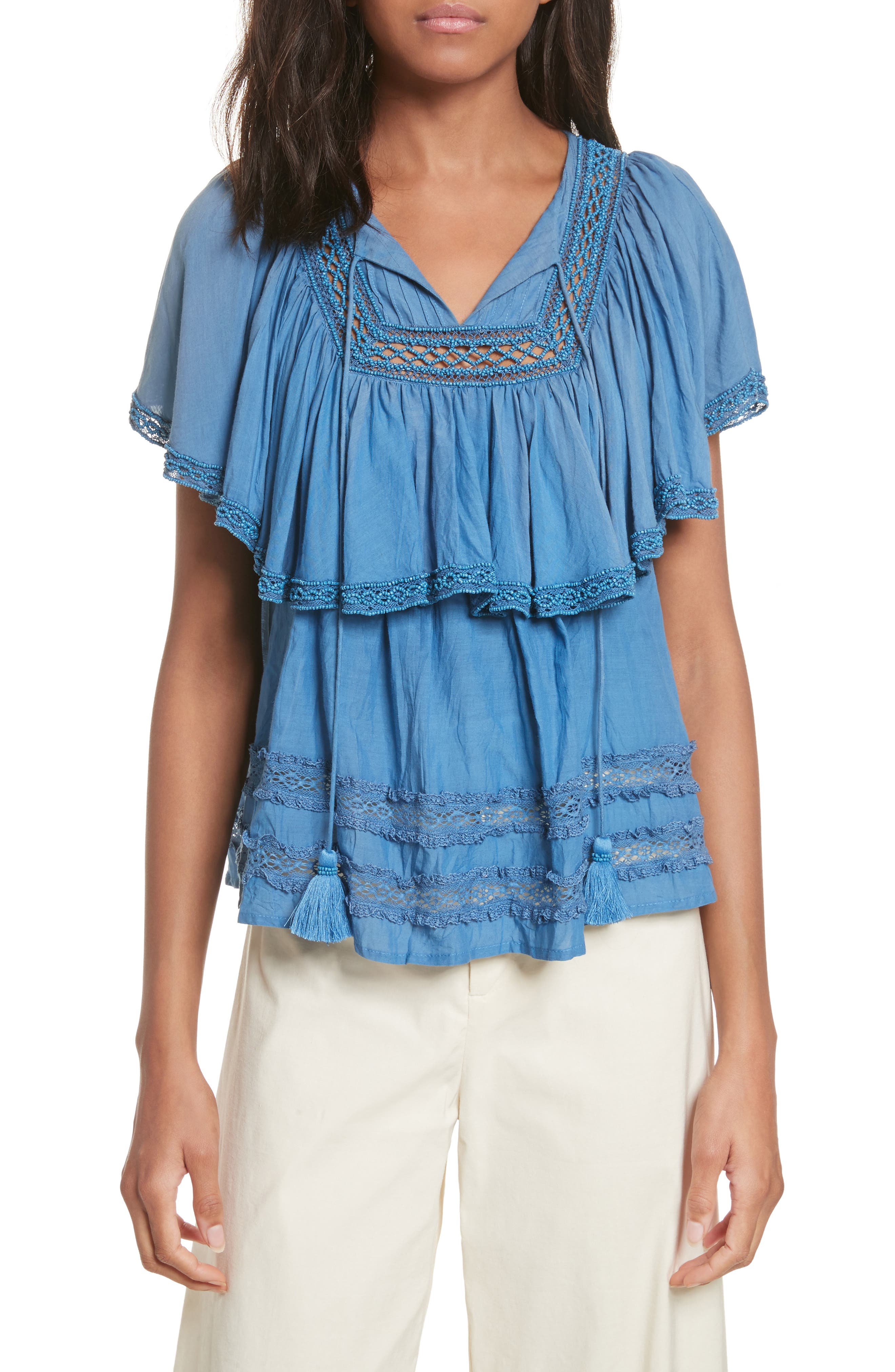 Adaline Ruffle Cotton Blouse,                         Main,                         color, 400