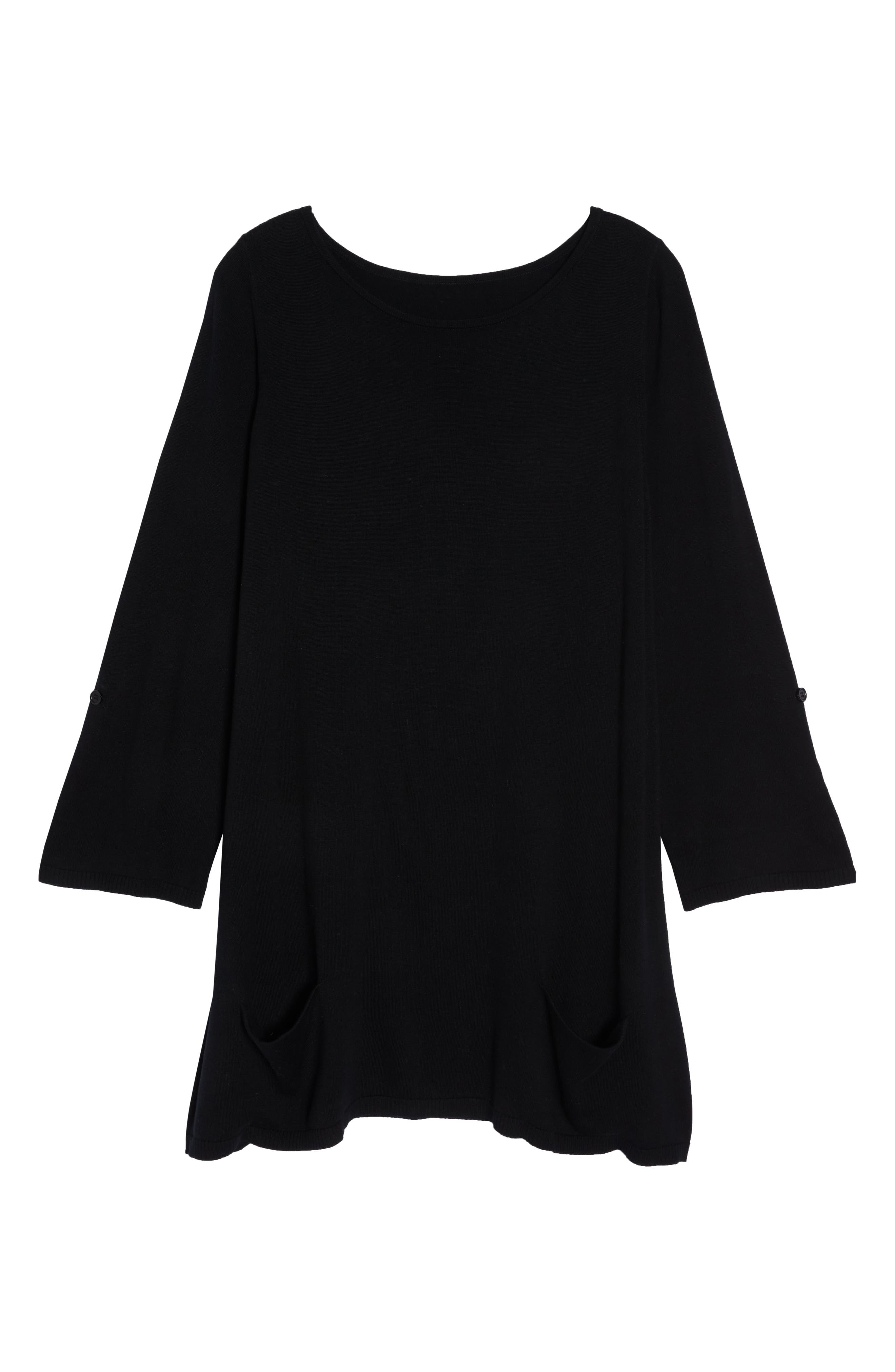 CASLON<SUP>®</SUP>,                             Roll Sleeve Tunic Sweater,                             Alternate thumbnail 6, color,                             BLACK