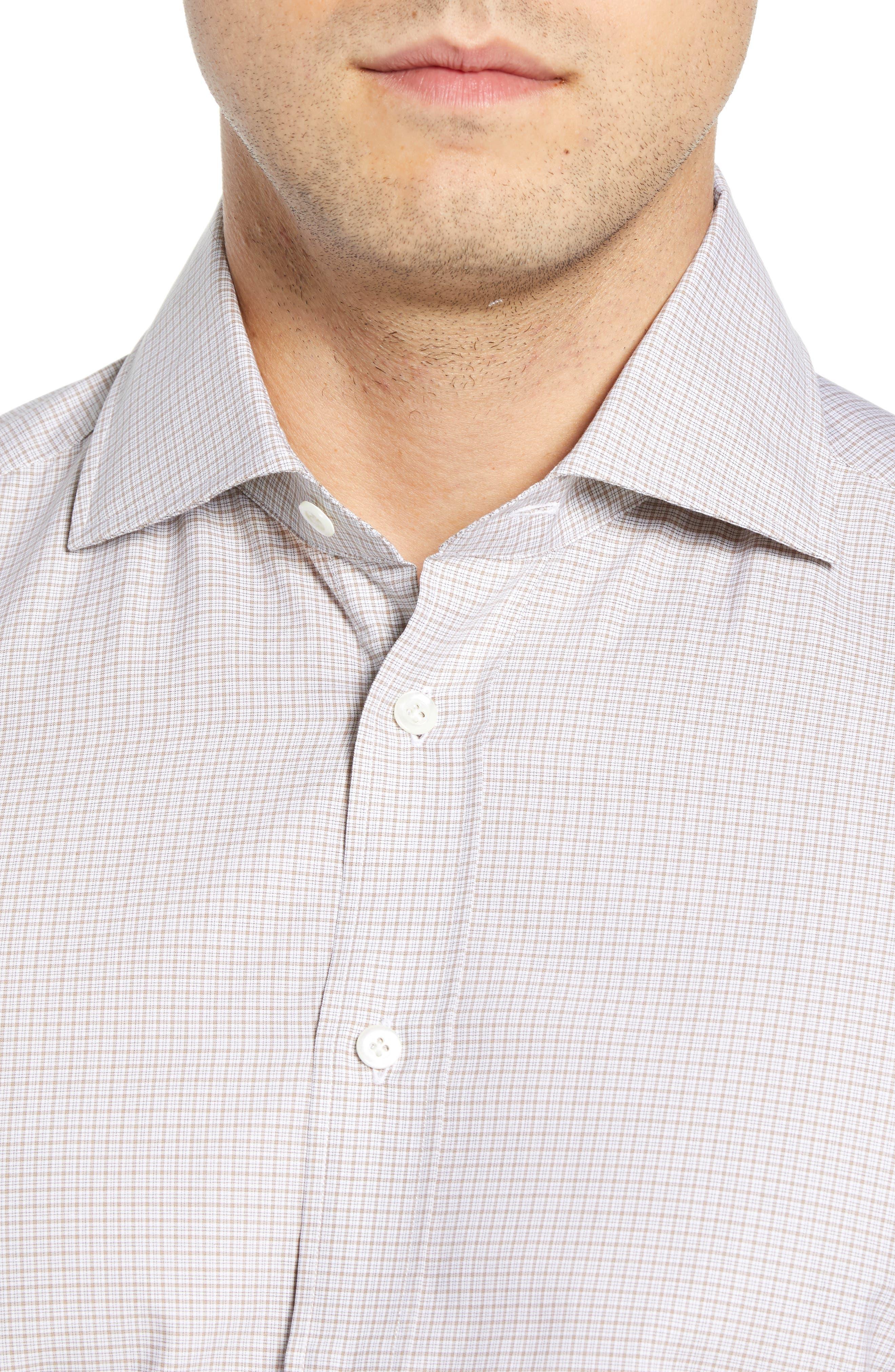 Slim Fit Check Dress Shirt,                             Alternate thumbnail 2, color,                             TAN