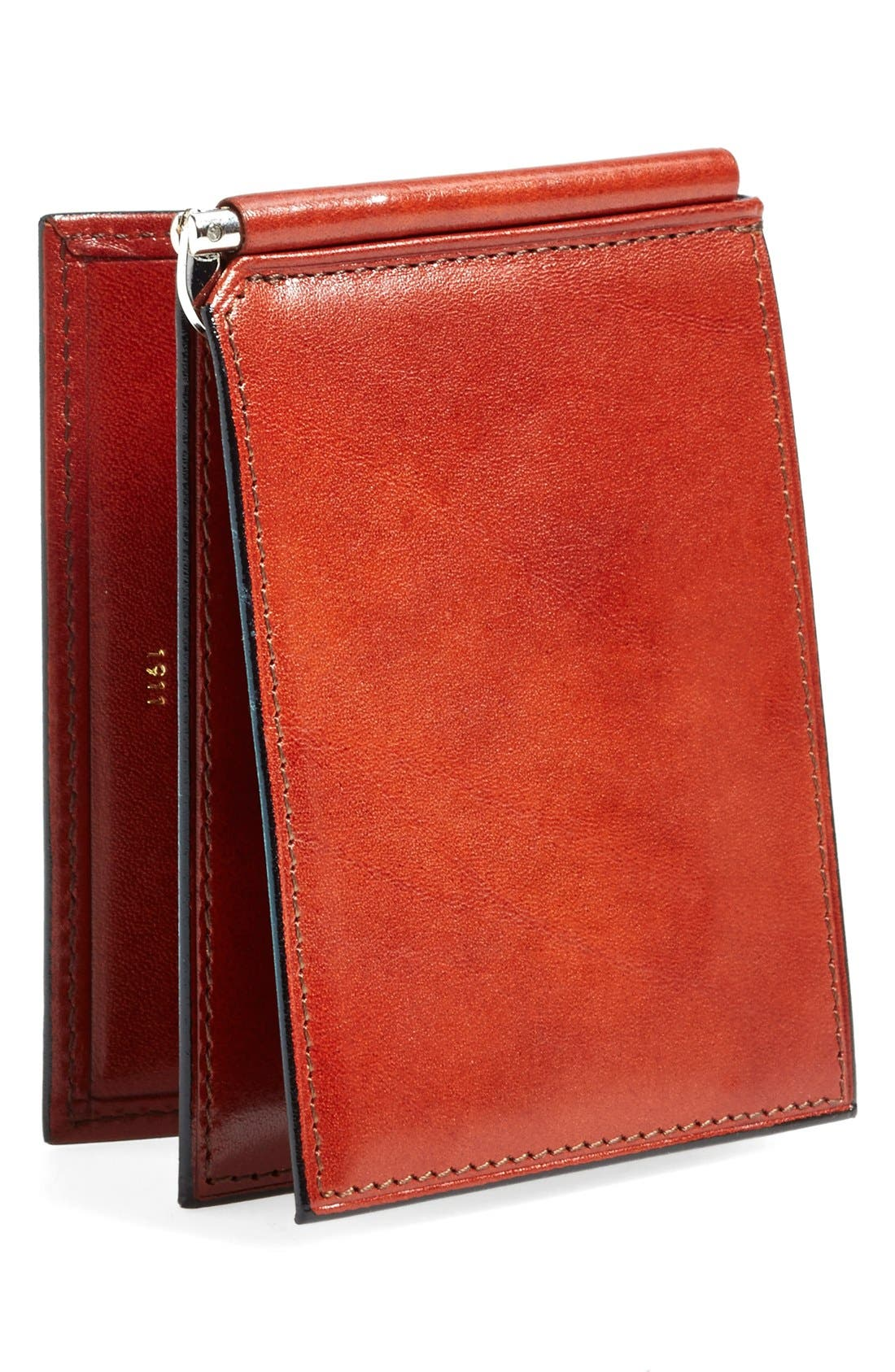 'Old Leather' Money Clip Wallet,                             Alternate thumbnail 3, color,                             COGNAC