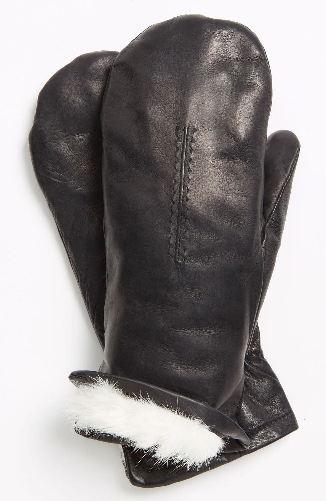 GRANDOE GLOVES,                             Grandoe 'Bunny' Genuine Rabbit Fur Lined Leather Mittens,                             Main thumbnail 1, color,                             001