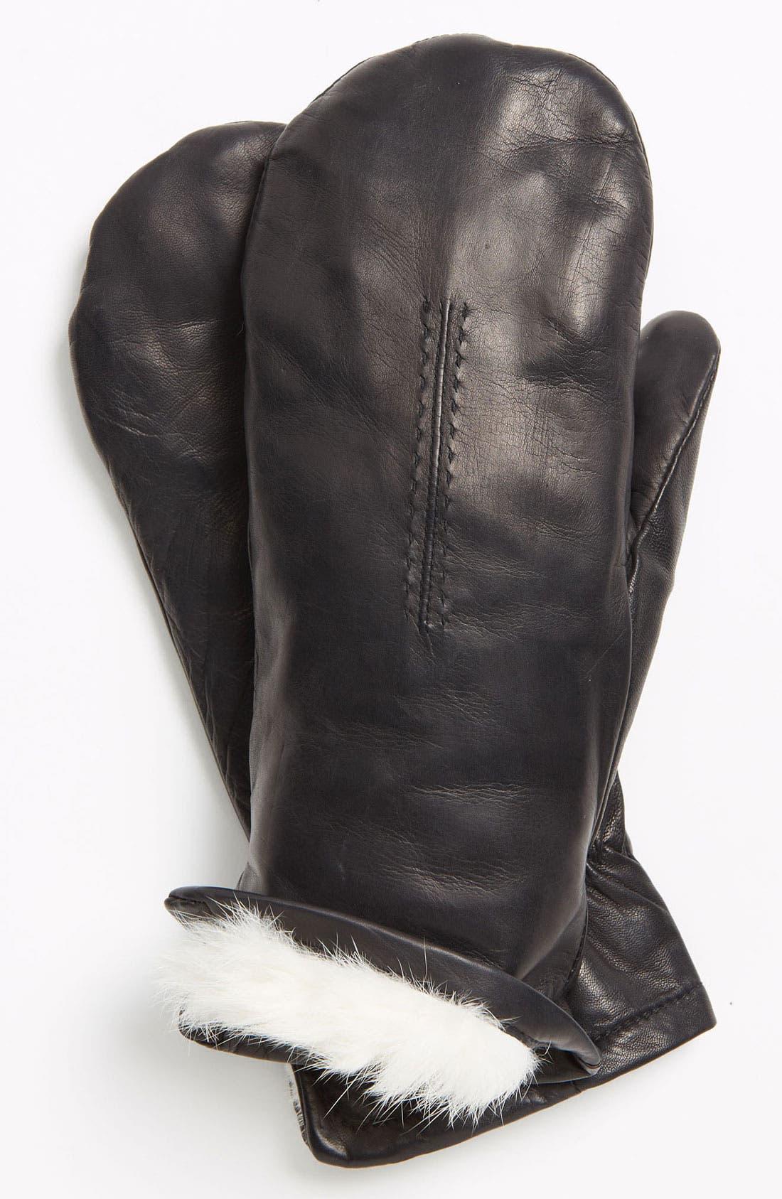 GRANDOE GLOVES Grandoe 'Bunny' Genuine Rabbit Fur Lined Leather Mittens, Main, color, 001