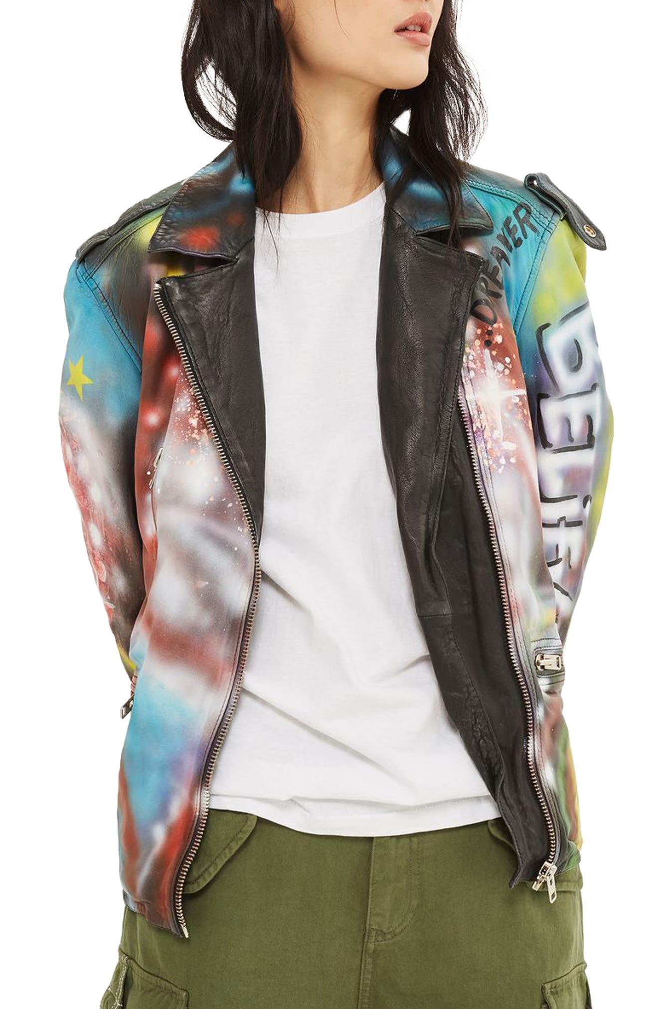 Aries Graffiti Leather Jacket, Main, color, 001