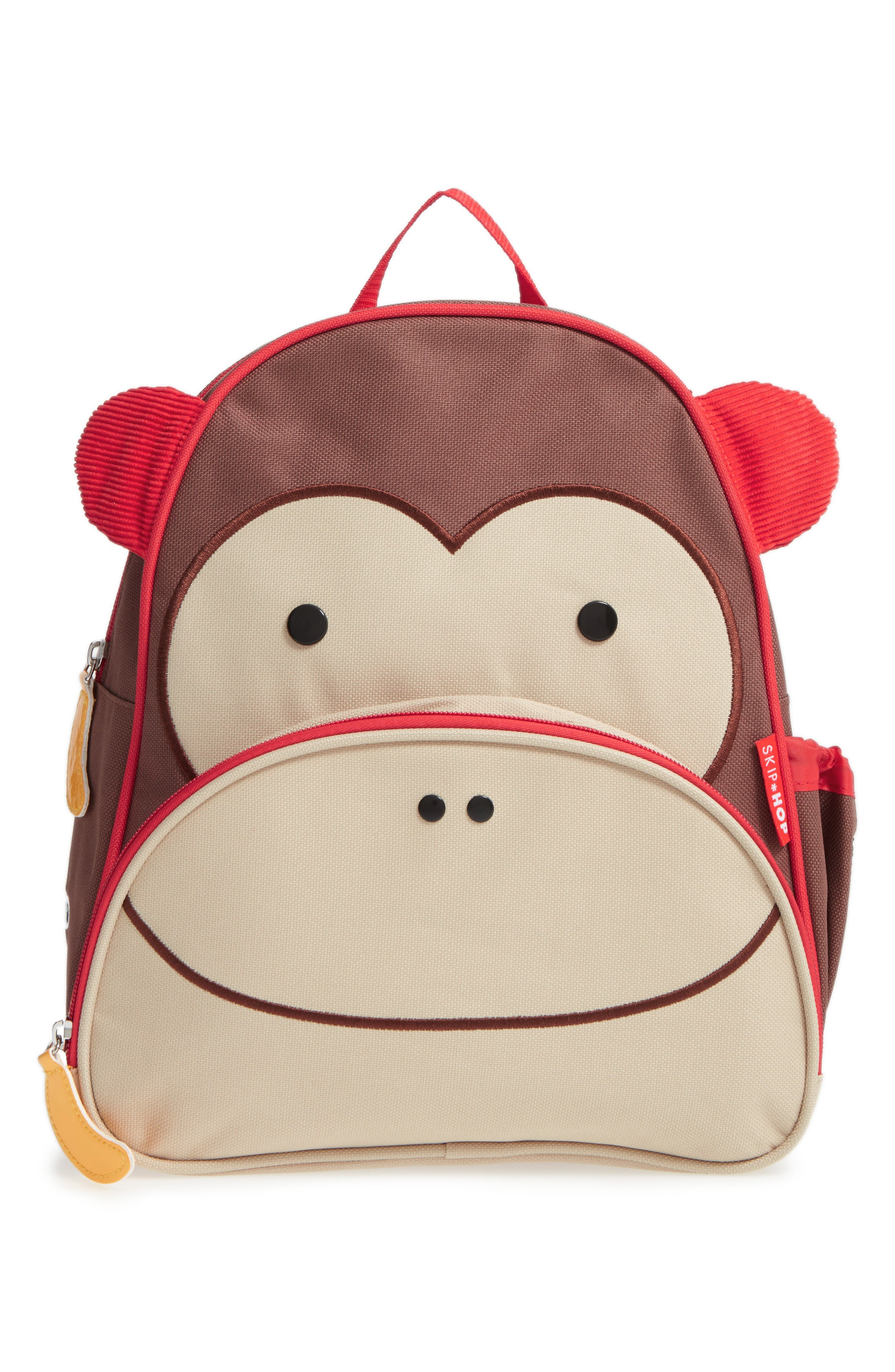 SKIP HOP Monkey Zoo Pack Backpack, Main, color, BROWN