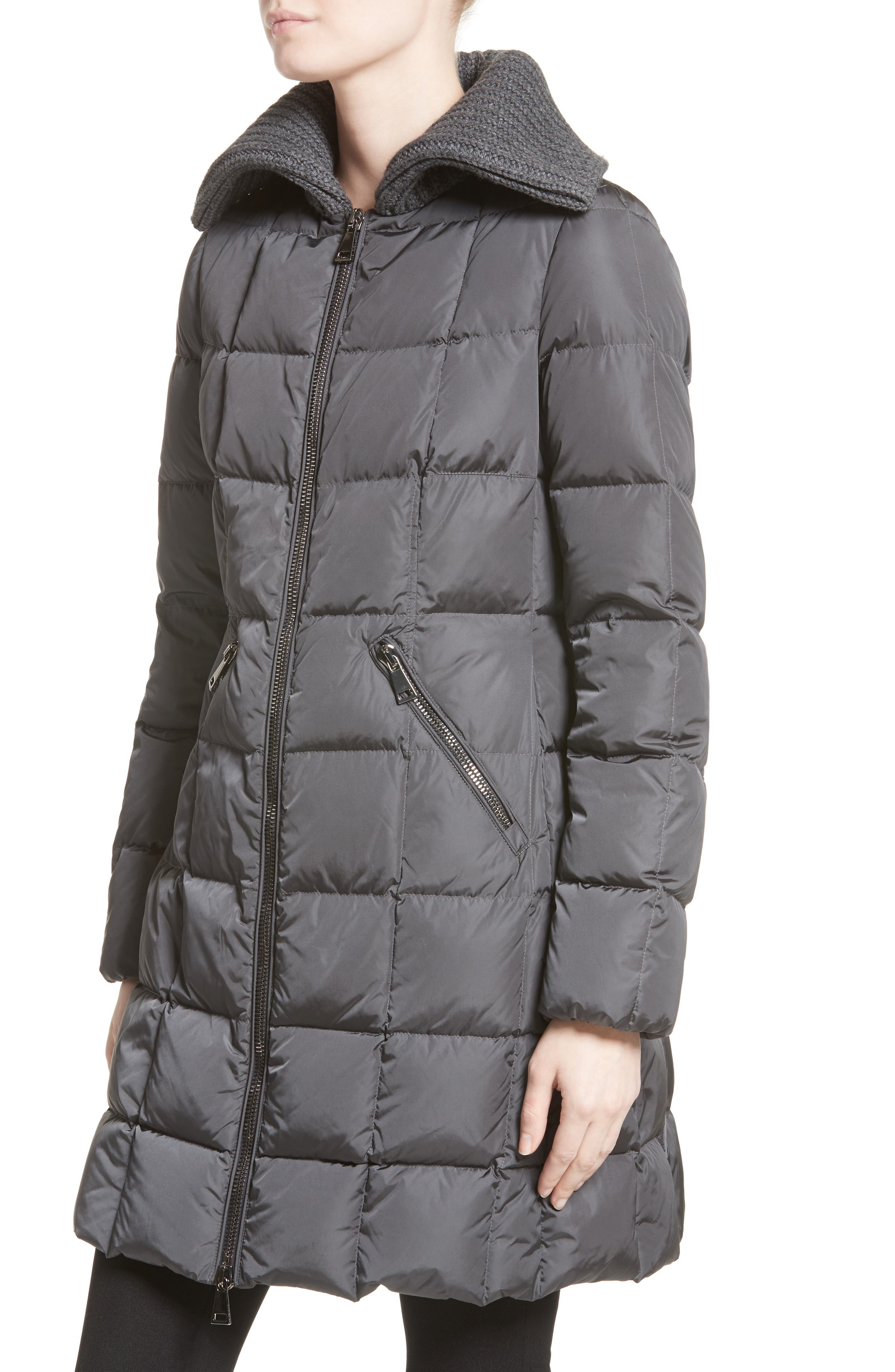 Davidia Quilted Down Coat with Removable Genuine Lamb Fur Collar,                             Alternate thumbnail 4, color,                             GREY