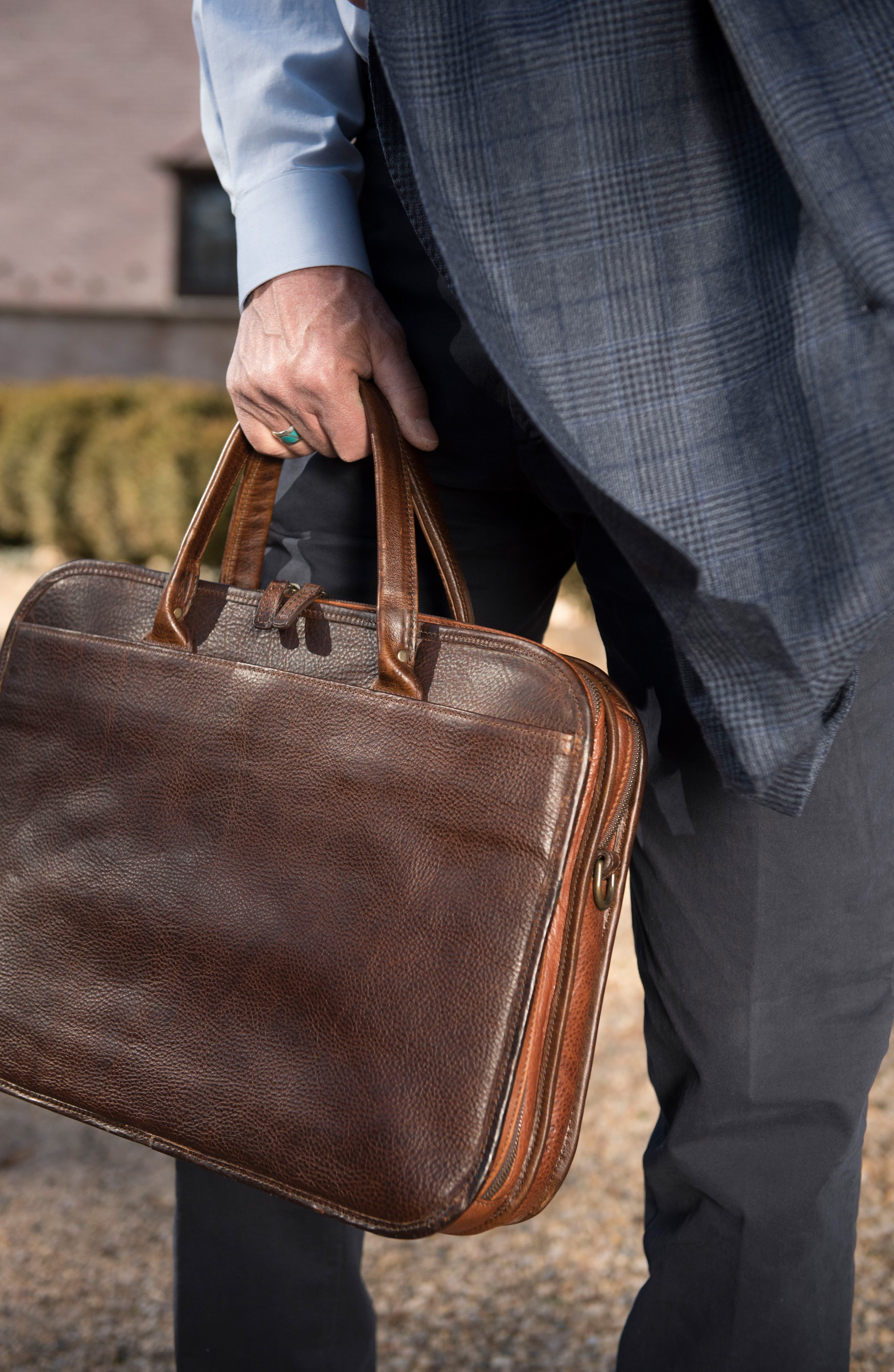 Miller Leather Briefcase,                             Alternate thumbnail 7, color,                             TITAN MILLED BROWN
