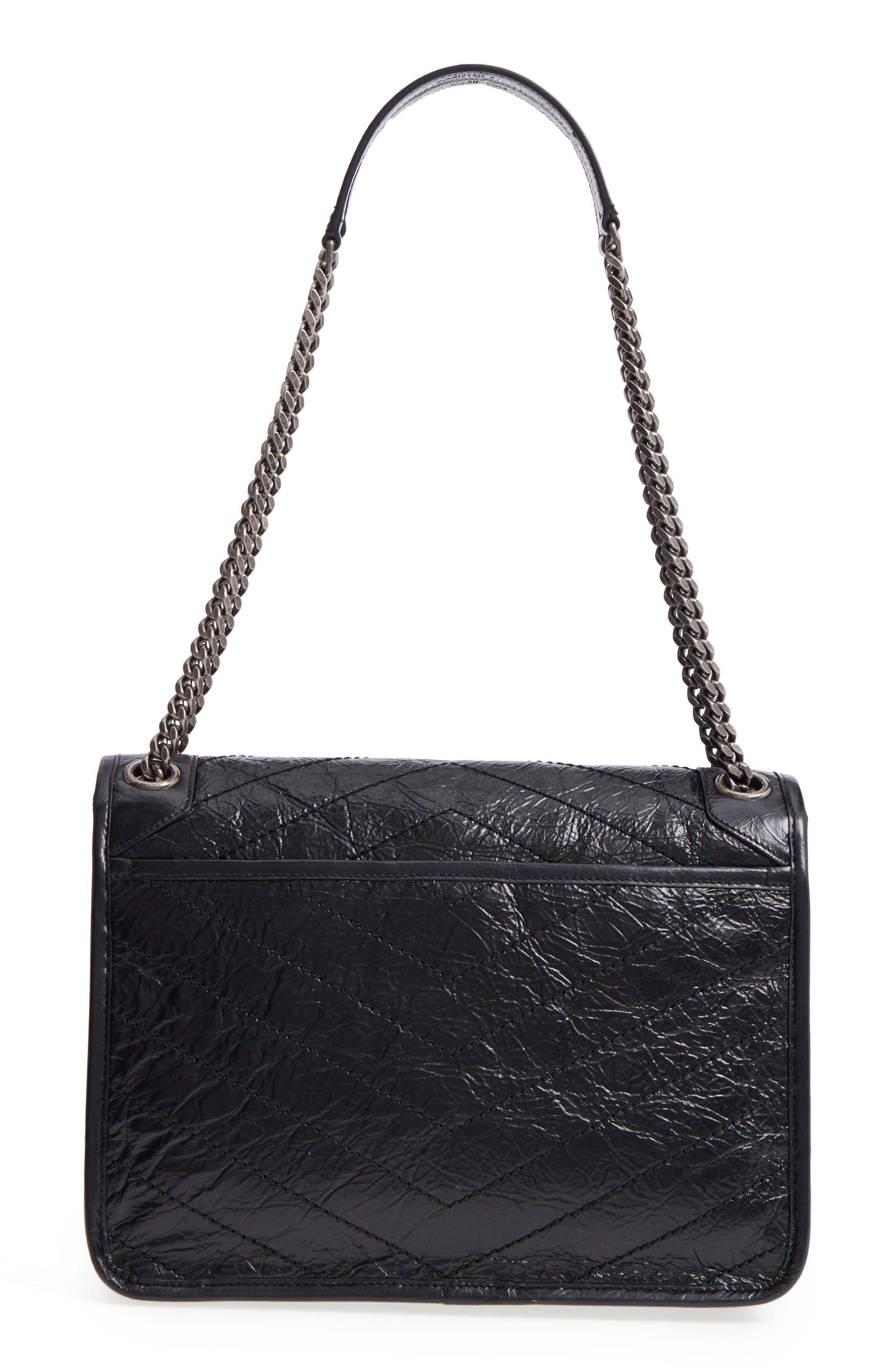 Medium Niki Leather Shoulder Bag,                             Alternate thumbnail 3, color,                             BLACK