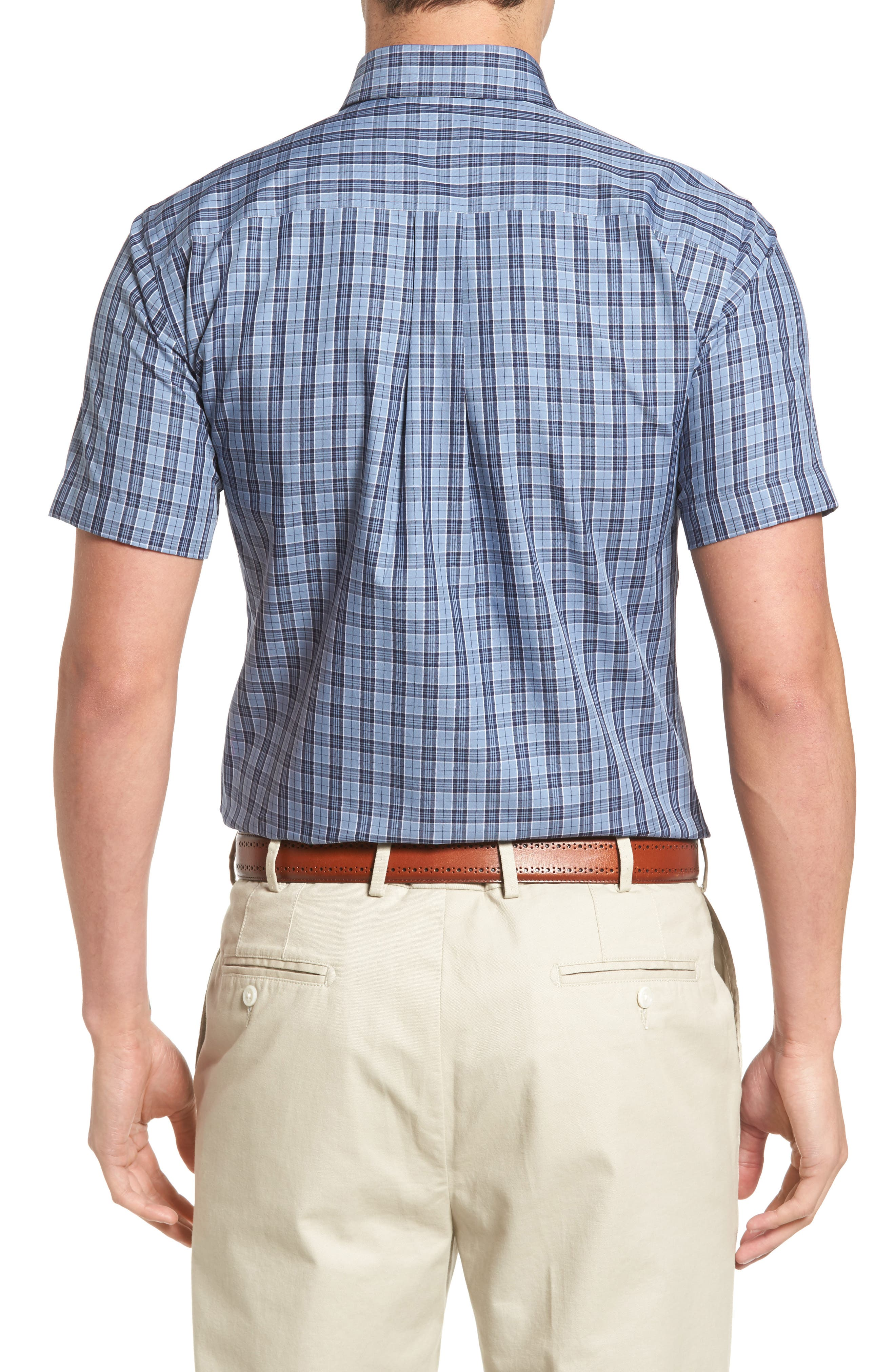 Regular Fit Short Sleeve Stormy Plaid Sport Shirt,                             Alternate thumbnail 2, color,                             439