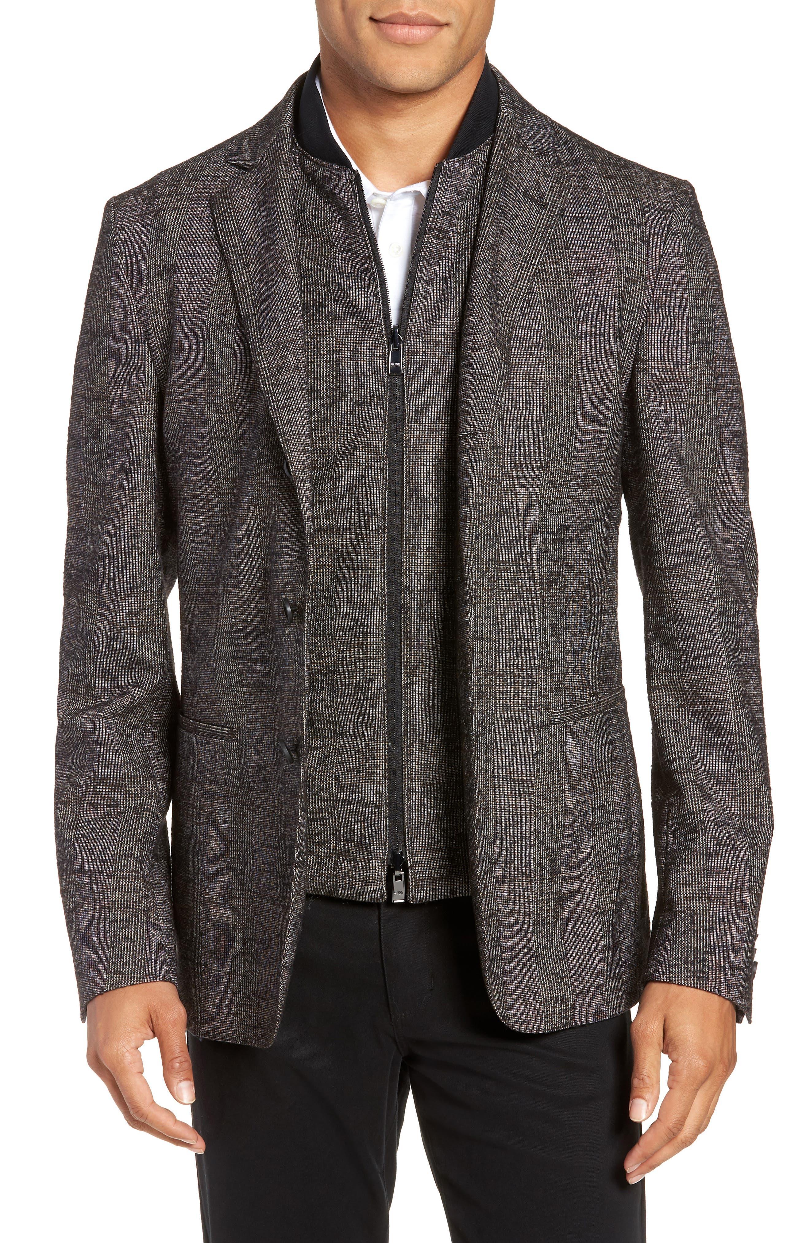Nanon Trim Fit Plaid Wool Blend Sport Coat,                             Main thumbnail 1, color,                             BLACK
