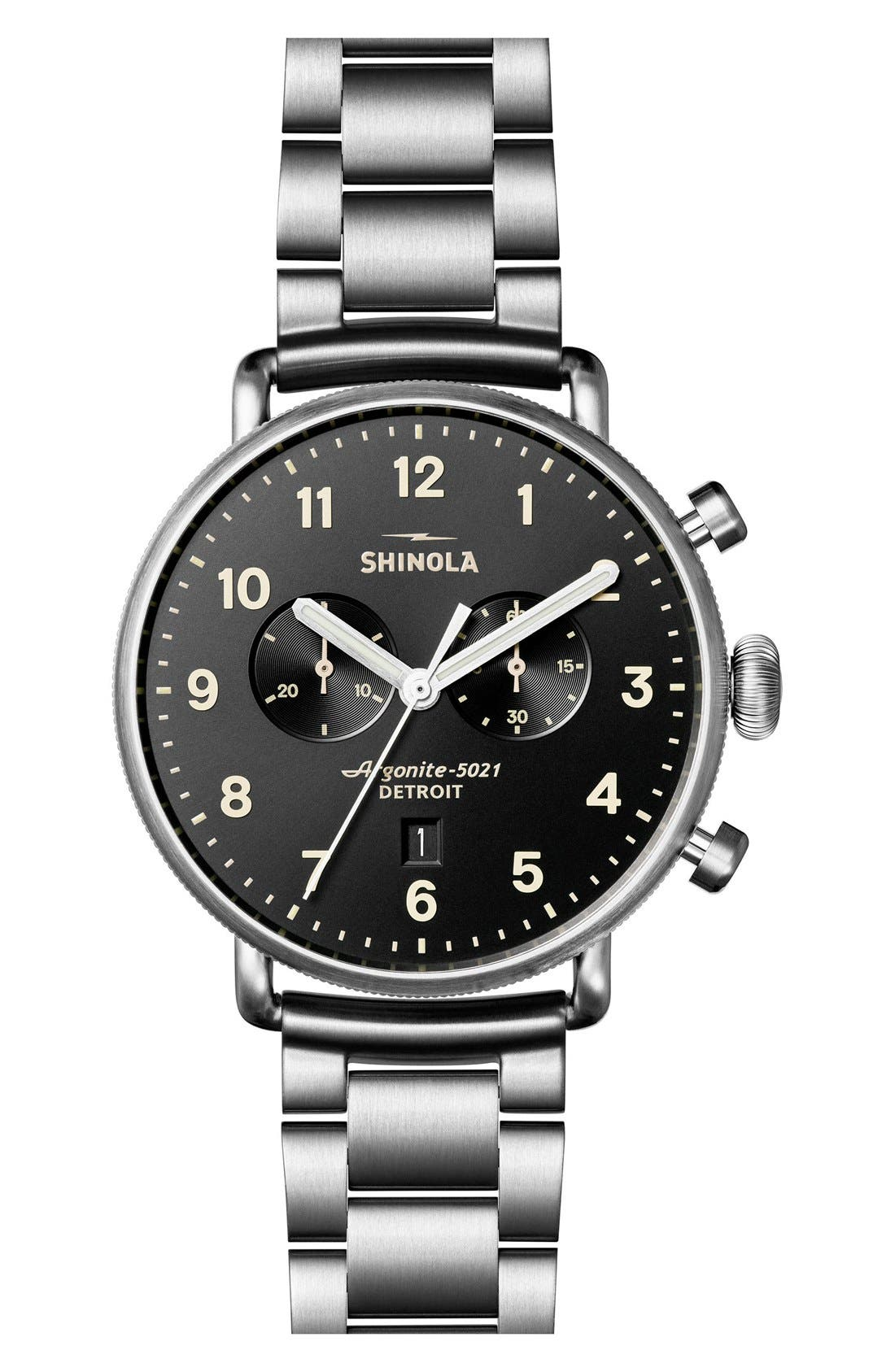 The Canfield Bracelet Watch, 43mm,                             Main thumbnail 1, color,                             SILVER/ BLACK