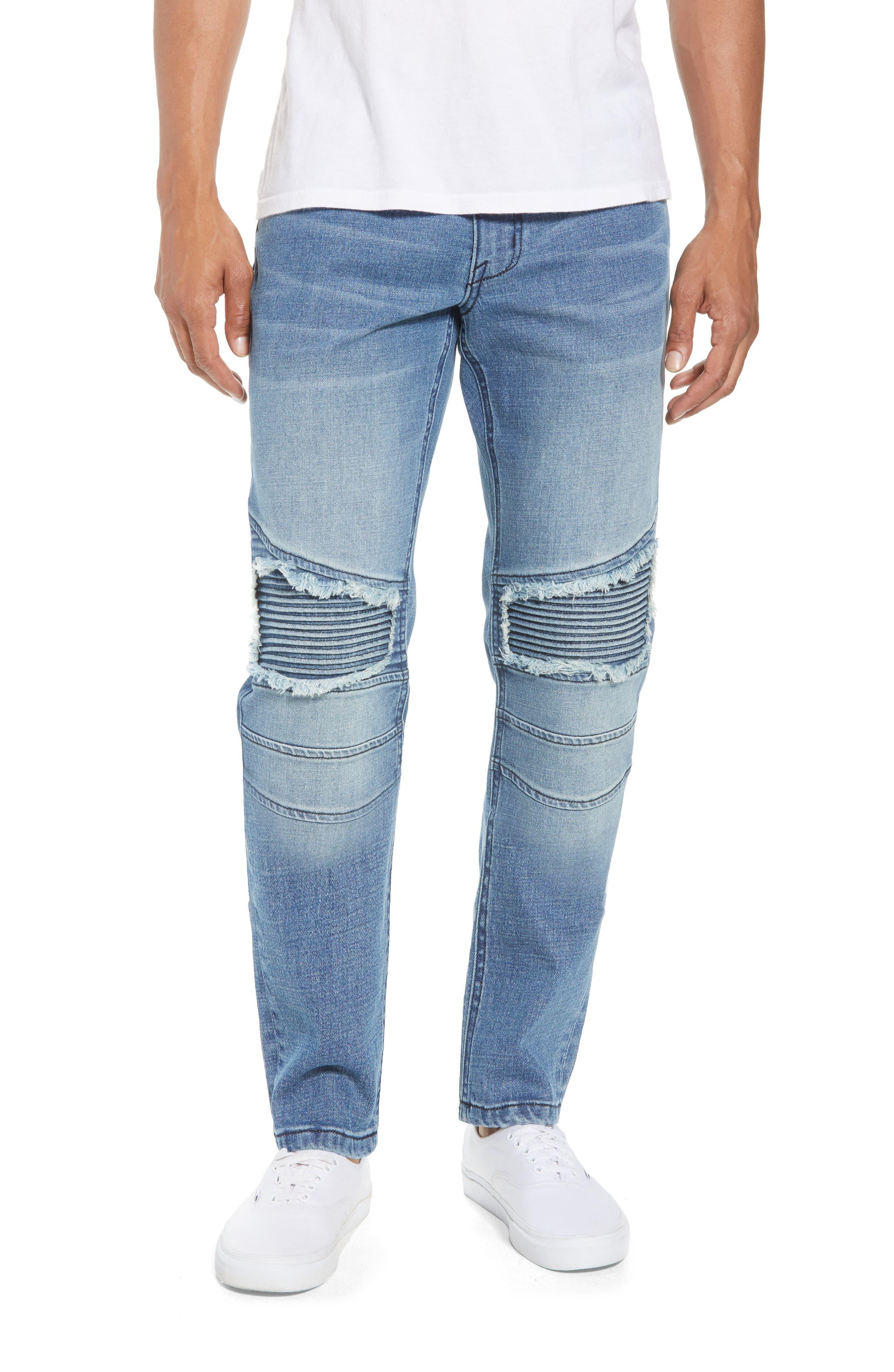 Skinny Moto Jeans,                             Main thumbnail 1, color,                             BLUE RIVERS WASH