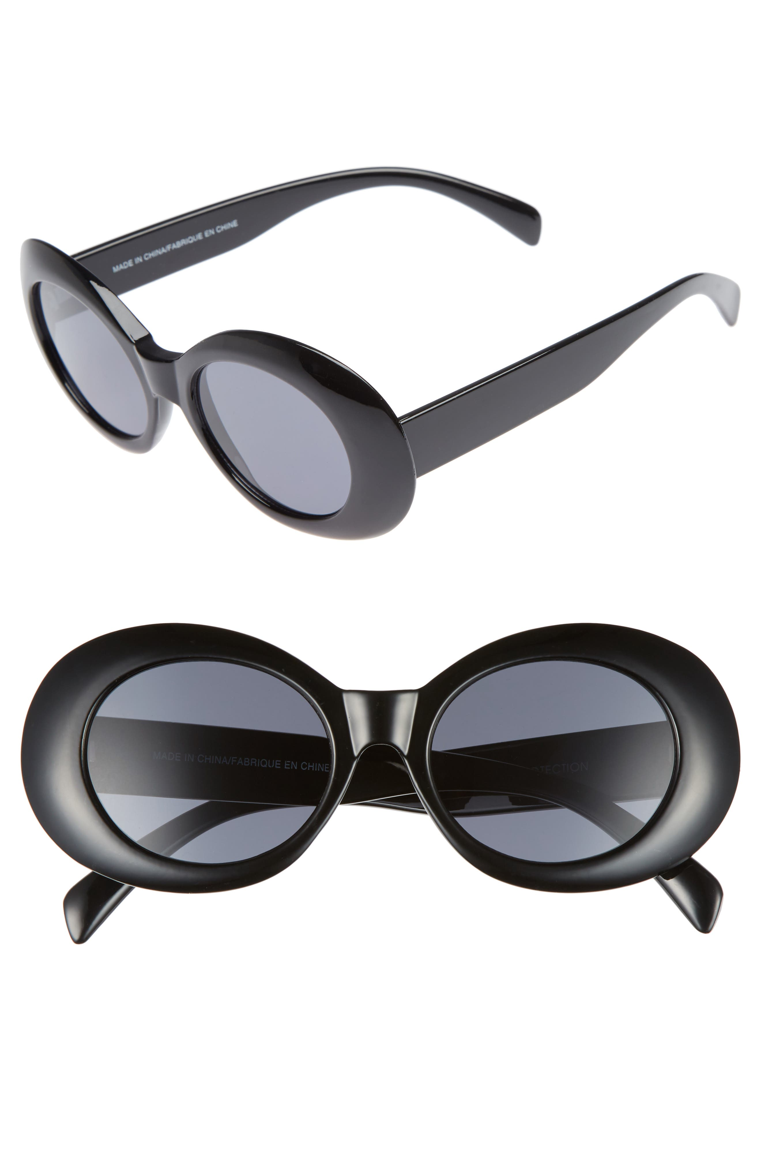 Oval Sunglasses,                             Main thumbnail 1, color,                             001