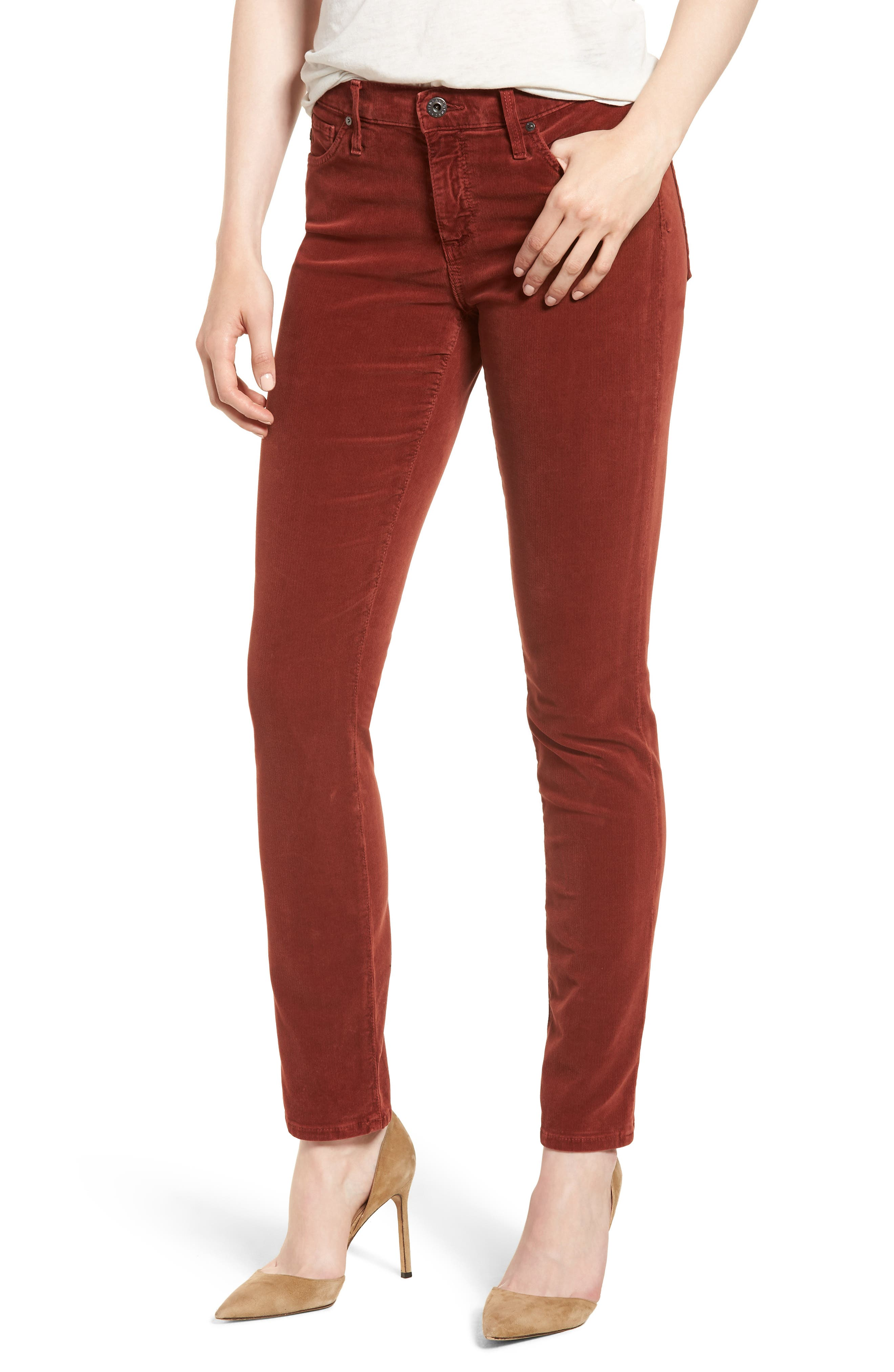 The Legging Corduory Skinny Ankle Jeans in Sulfur Tannic Red