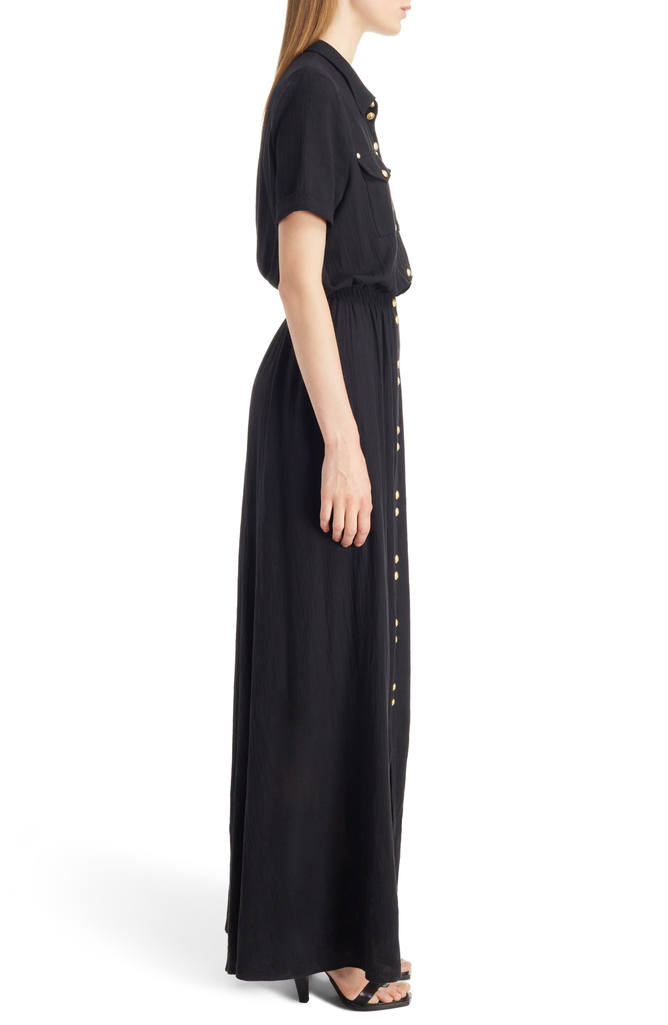 Button Front Cotton Maxi Dress,                             Alternate thumbnail 3, color,                             001