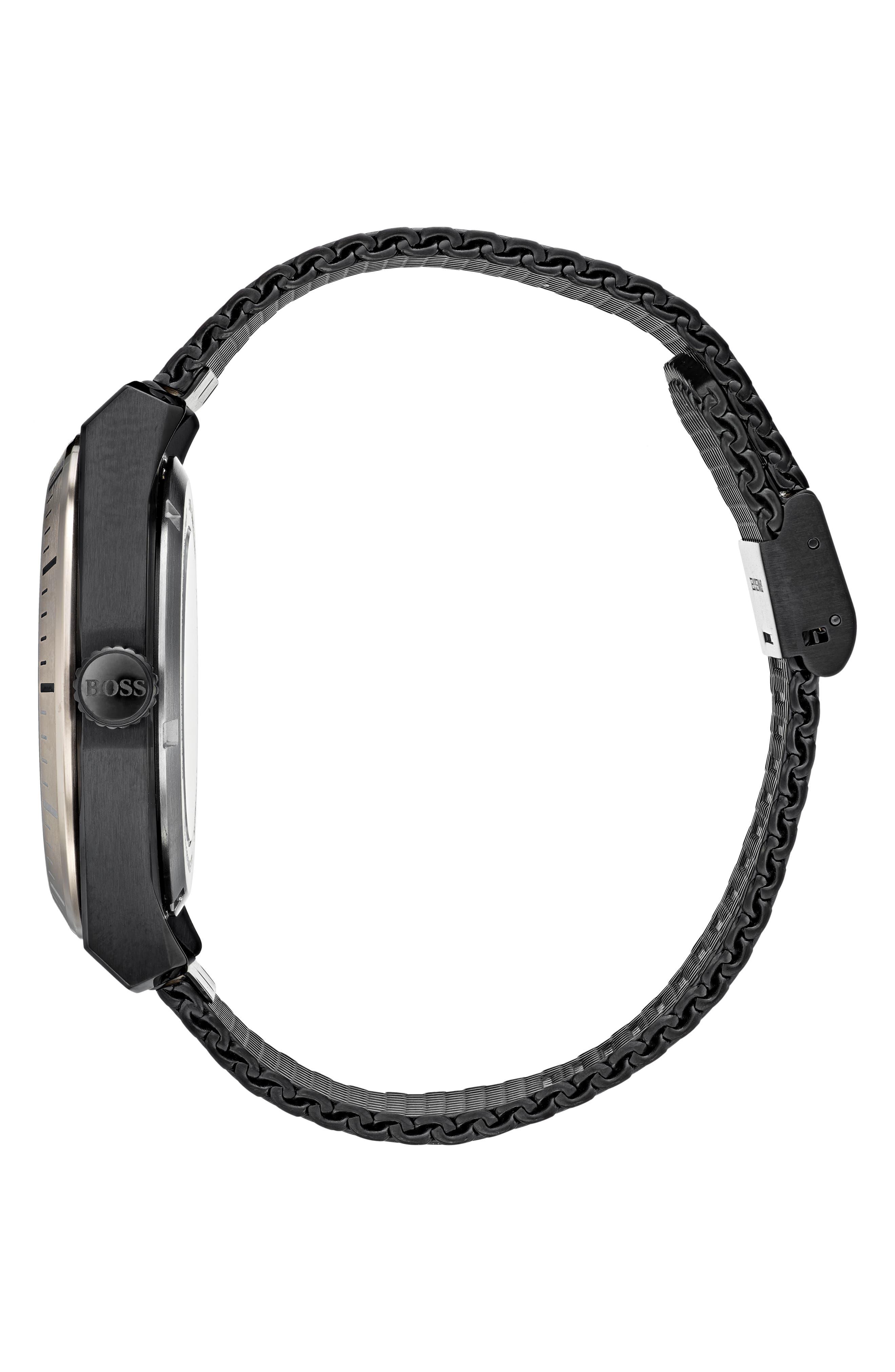 Signature Timepiece Collection Automatic Mesh Bracelet Watch, 44mm,                             Alternate thumbnail 3, color,                             SKELETON/ BLACK