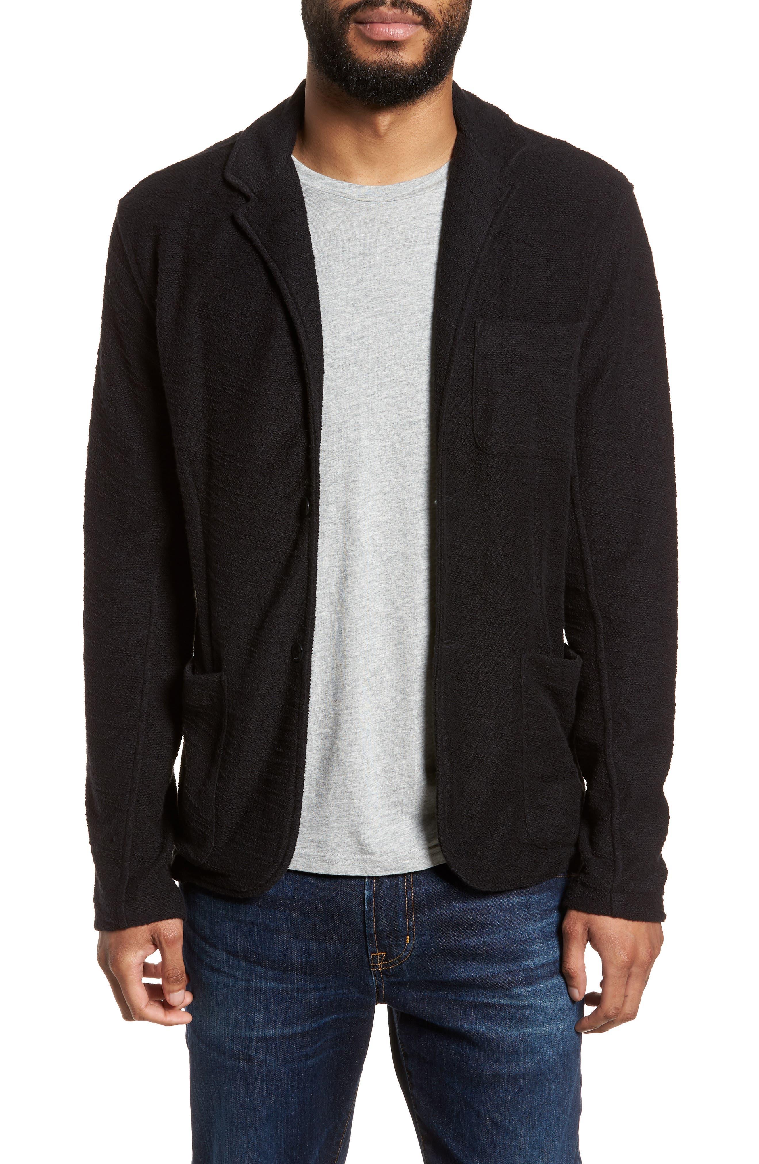 Terry Cloth Cotton Blend Blazer,                         Main,                         color, 001