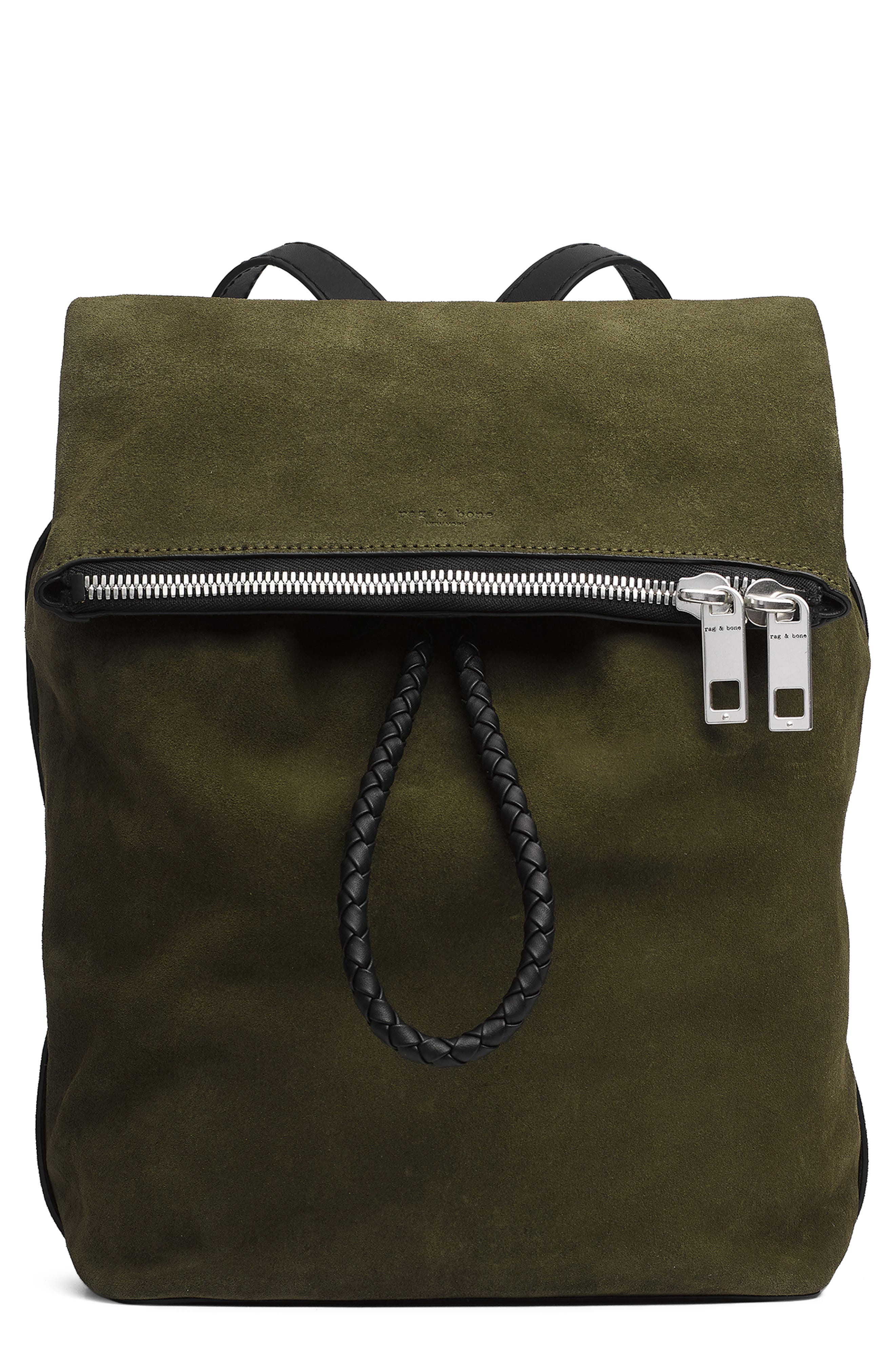 Loner Leather Backpack,                         Main,                         color, OLIVE NIGHT SUEDE
