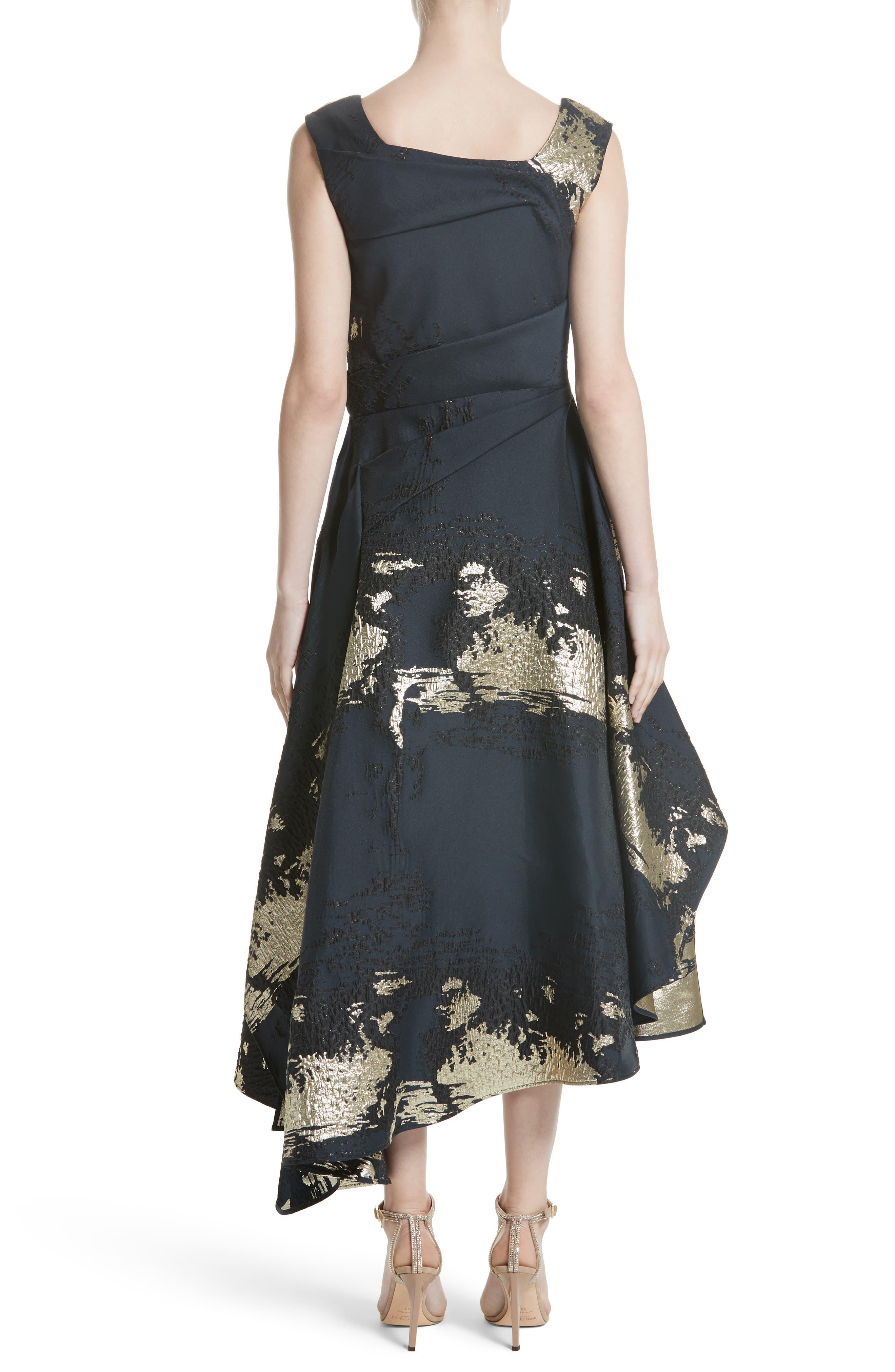 Jacquard Draped Asymmetrical Dress,                             Alternate thumbnail 2, color,                             410