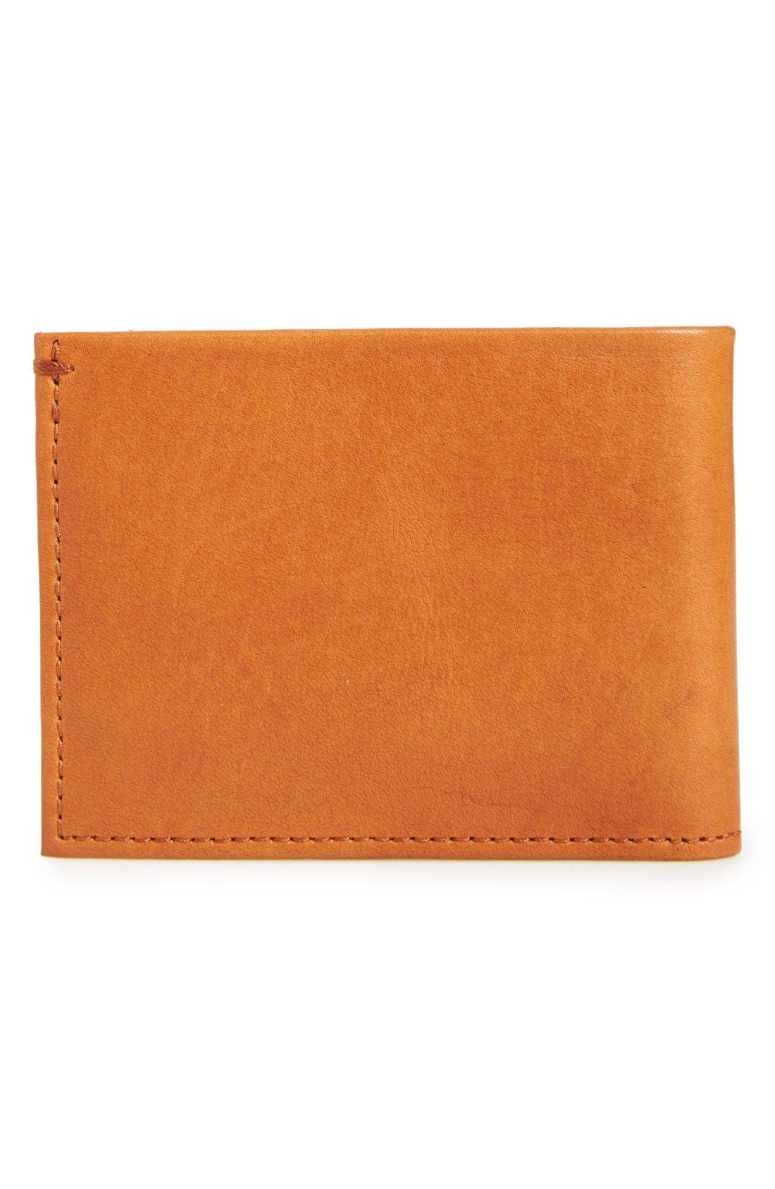 Slim Bifold Leather Wallet,                             Alternate thumbnail 4, color,                             BOURBON