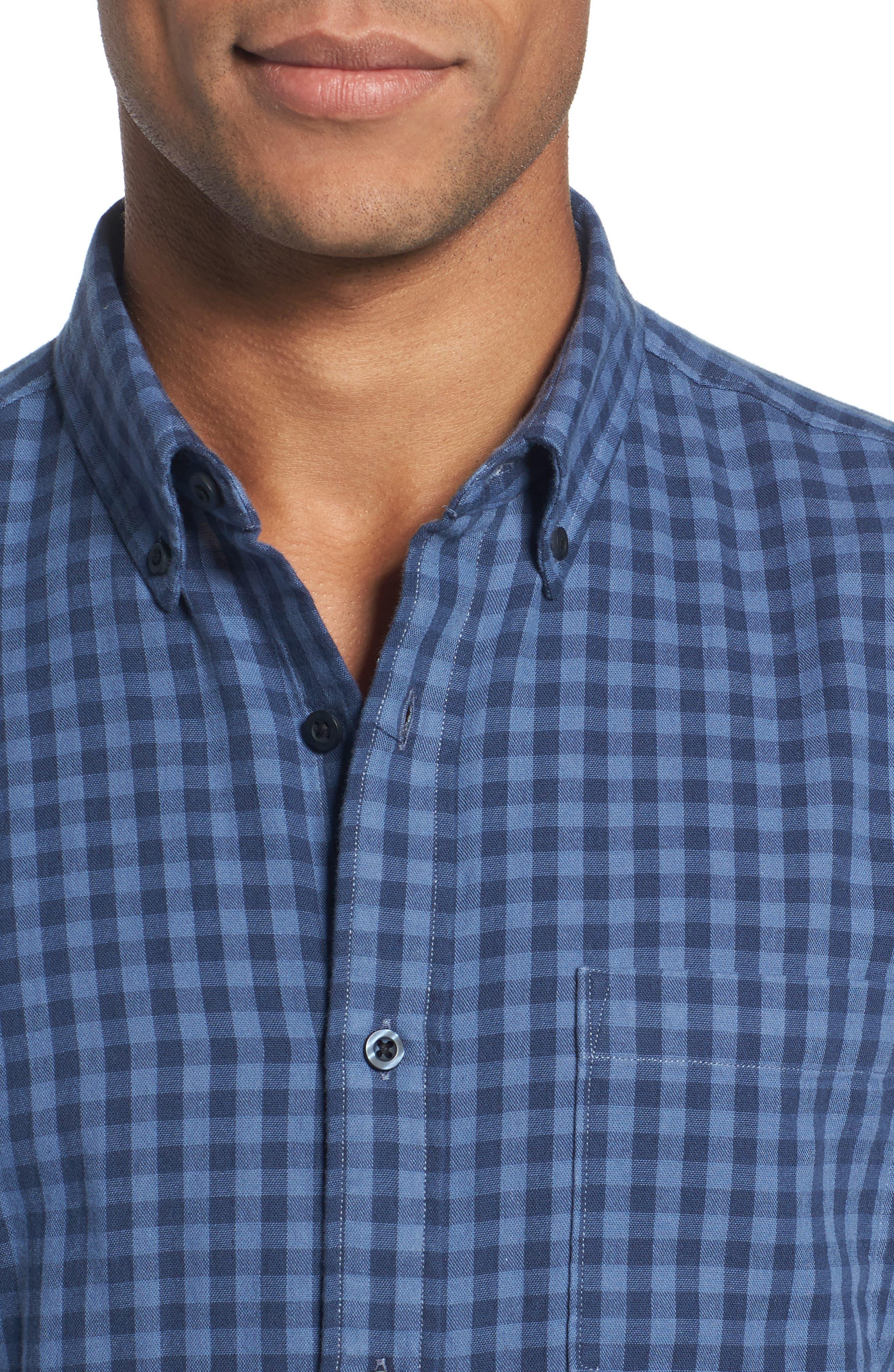 Trim Fit Duofold Check Sport Shirt,                             Alternate thumbnail 4, color,                             420