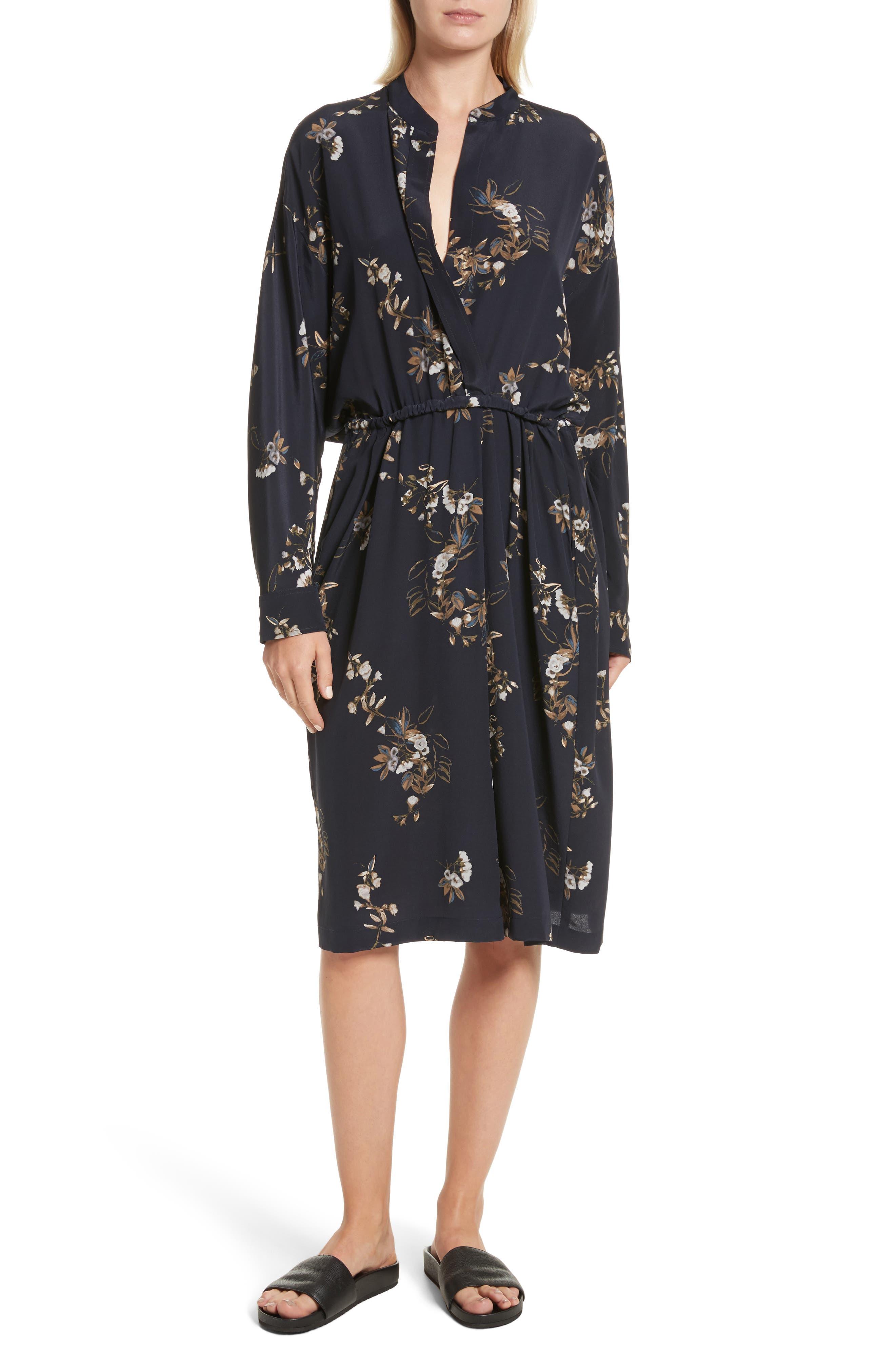 Silk Floral Shirtdress,                         Main,                         color,