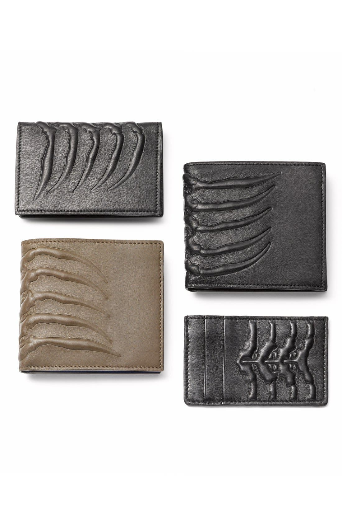 Rib Cage Leather Card Holder,                             Alternate thumbnail 5, color,                             BLACK