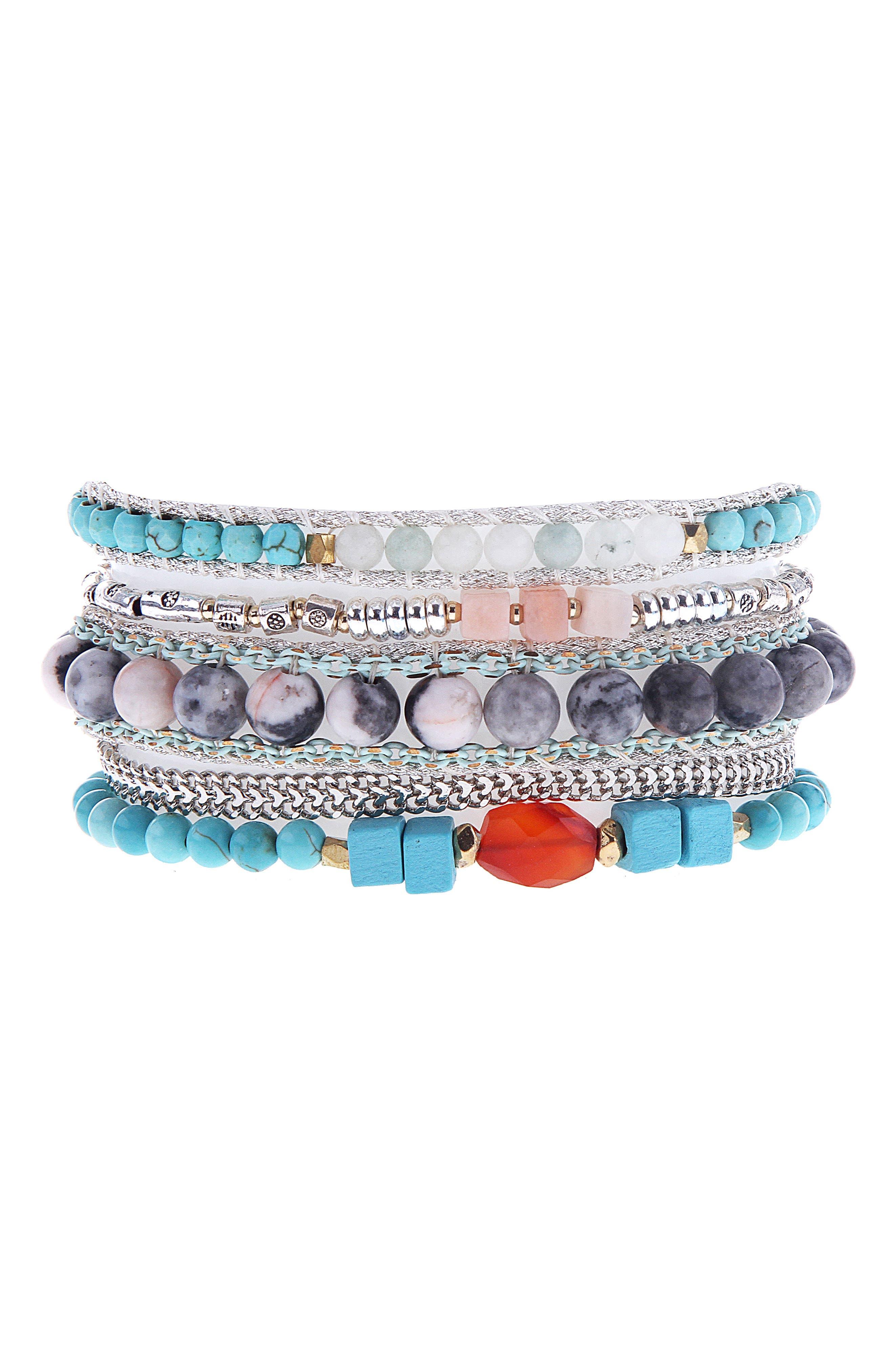 Multi Stone Cuff Bracelet,                             Main thumbnail 1, color,                             400