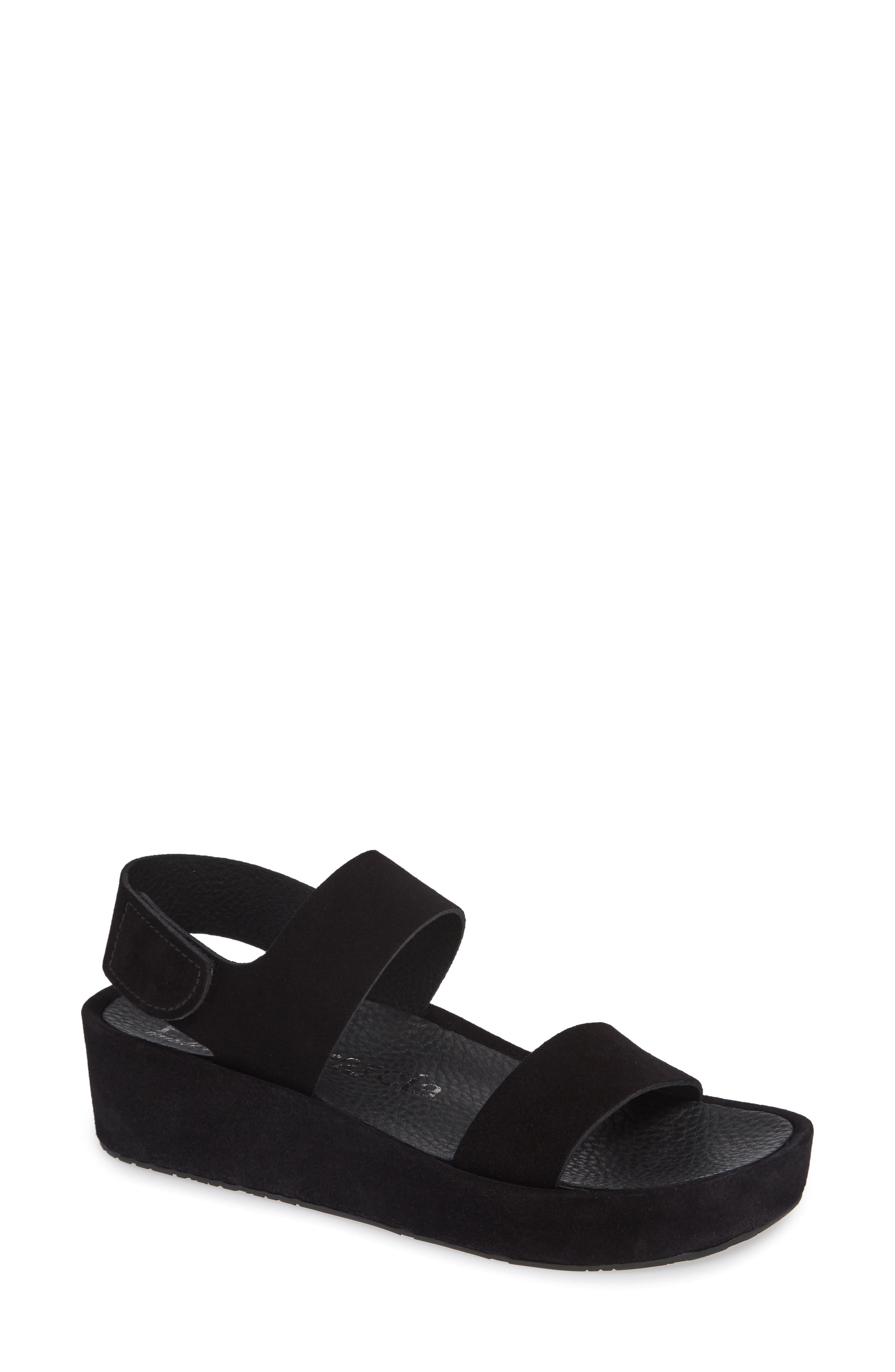 Lacey Footbed Sandal,                             Main thumbnail 1, color,                             BLACK CASTORO