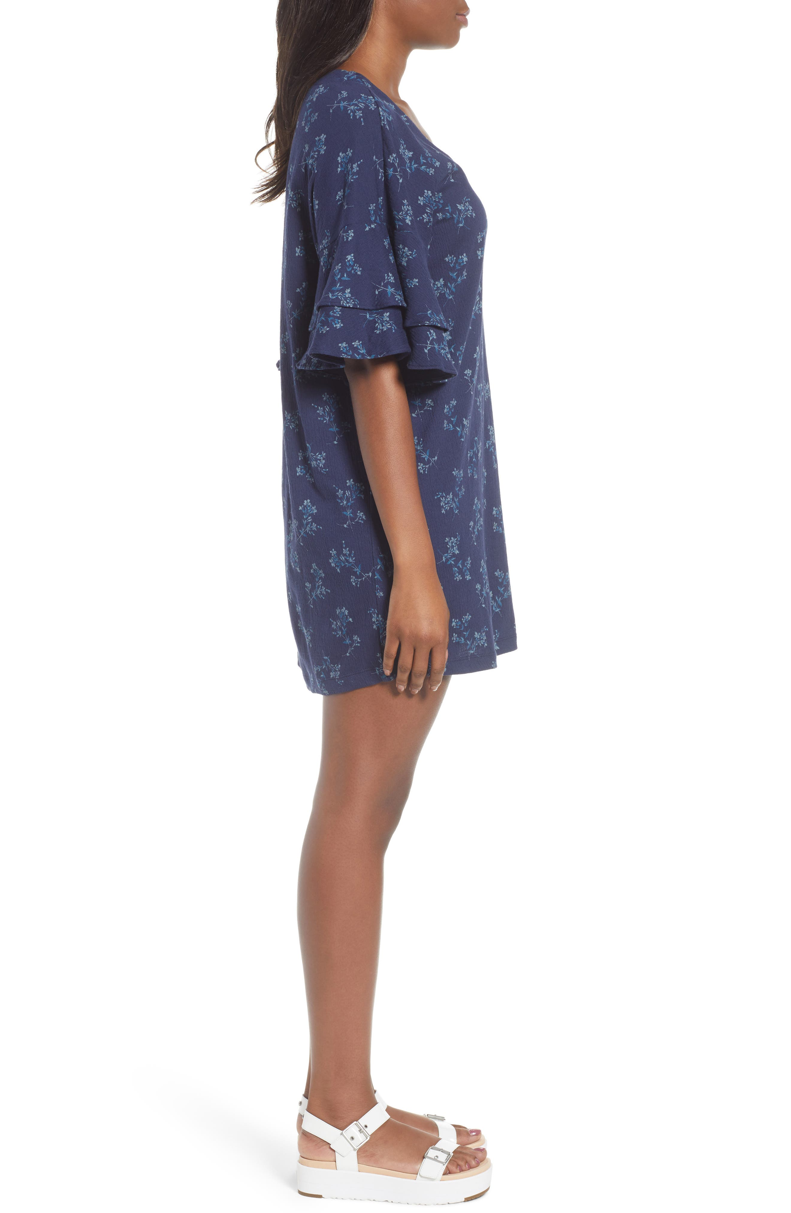 Tiered Sleeve Mini Dress,                             Alternate thumbnail 3, color,                             400