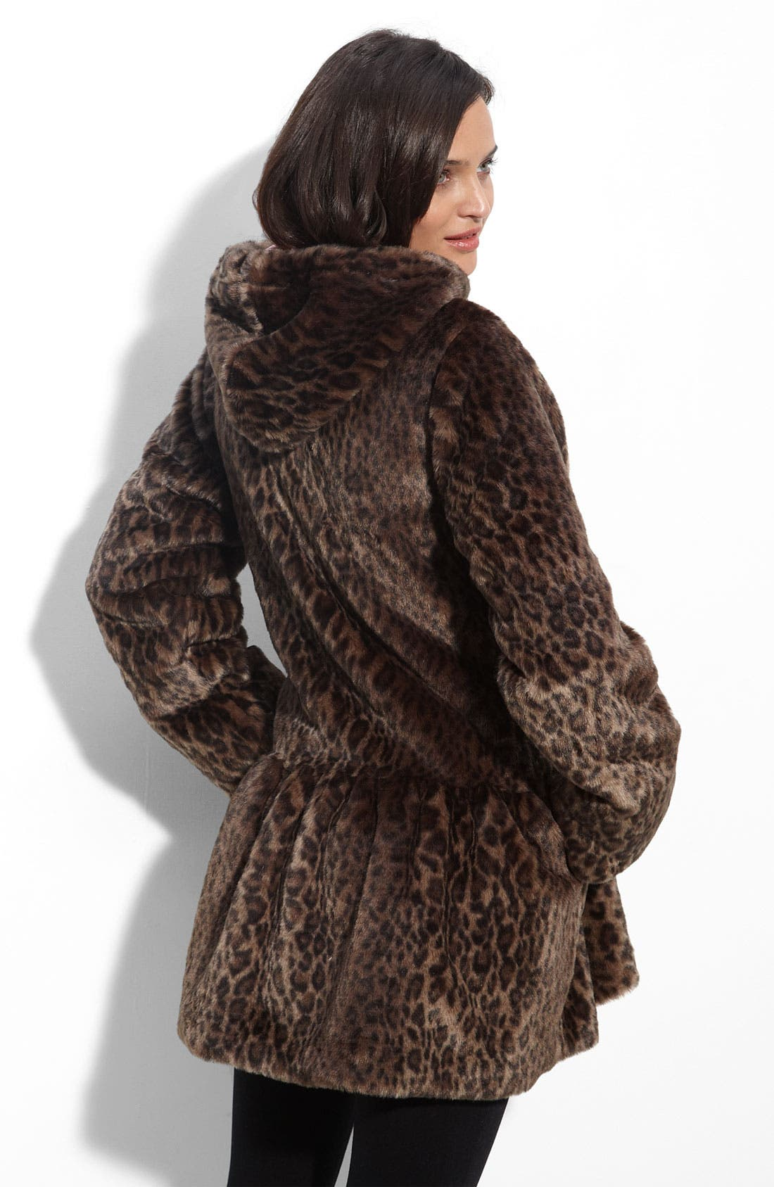 'All About Town' Leopard Print Faux Fur Hooded Jacket,                             Alternate thumbnail 2, color,                             903