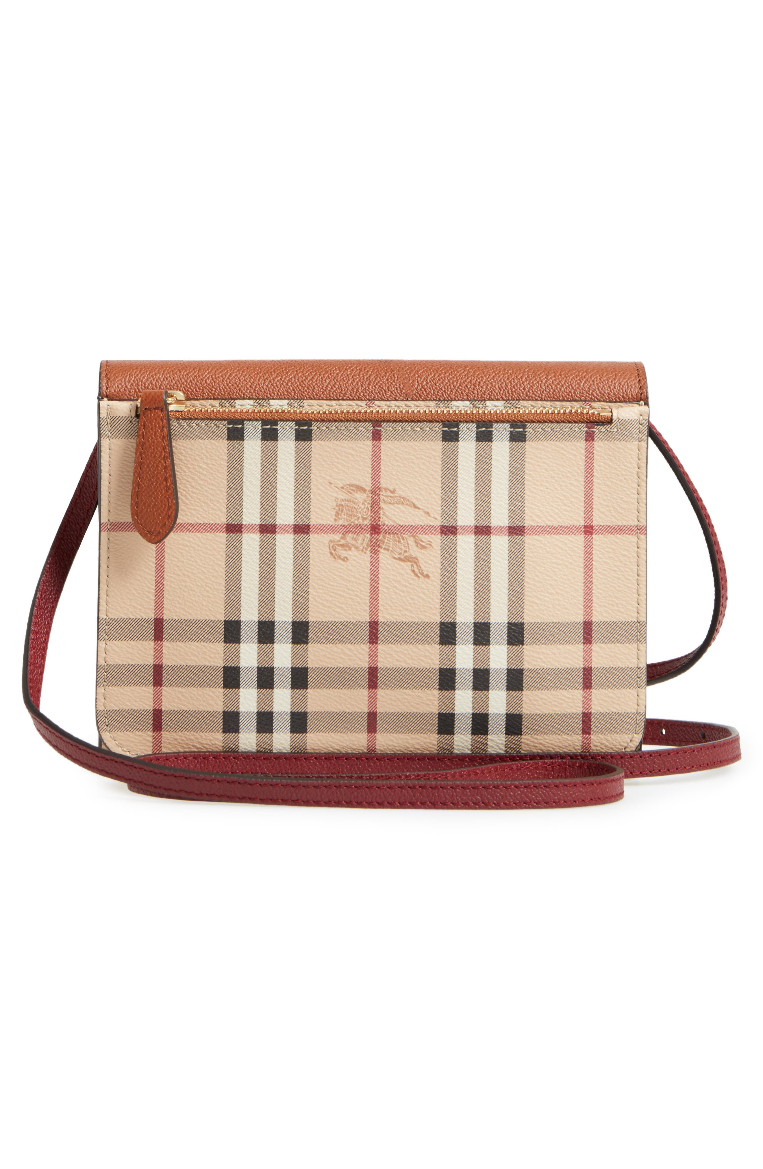 Peyton Check Coated Canvas & Leather Crossbody Bag,                             Alternate thumbnail 3, color,                             265