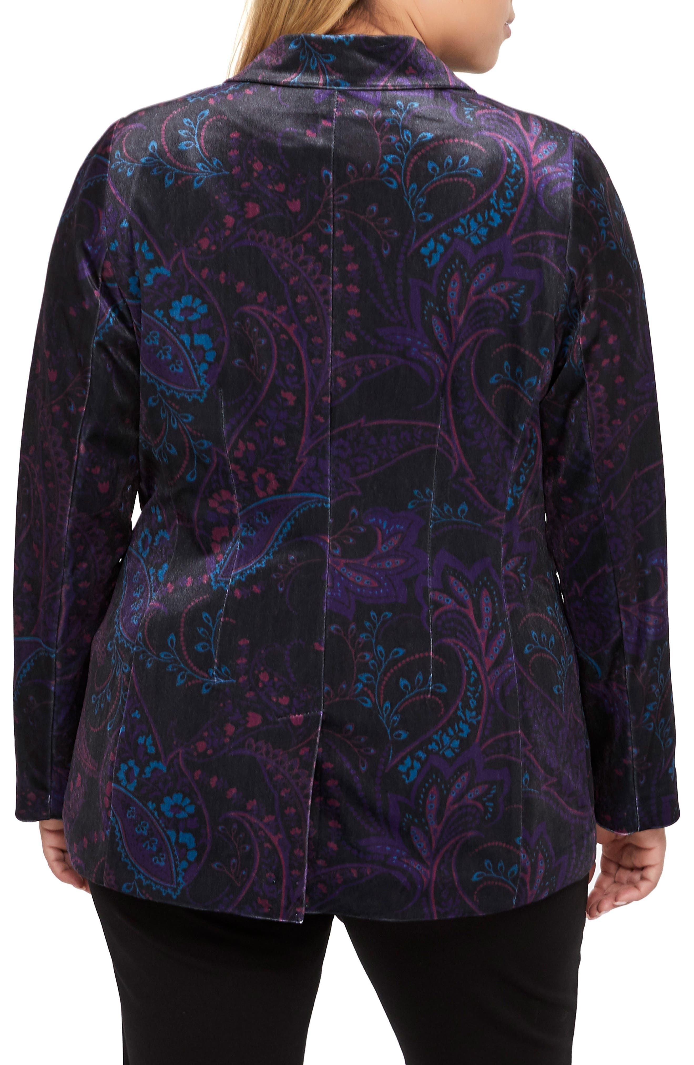 MICHEL STUDIO,                             Tapestry Pattern Stretch Velvet Blazer,                             Alternate thumbnail 2, color,                             BLACK