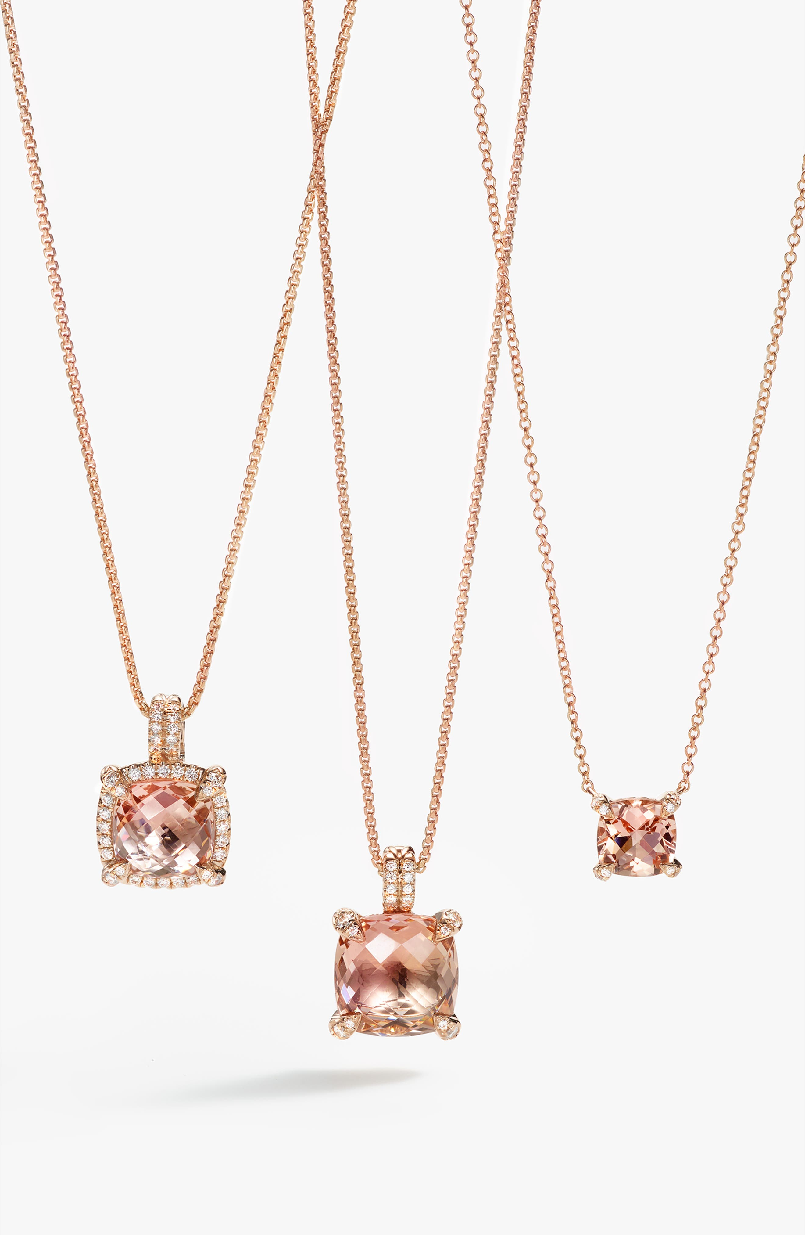 Châtelaine Pavé Bezel Pendant Necklace with Morganite and Diamonds in 18K Rose Gold,                             Alternate thumbnail 3, color,                             ROSE GOLD/ DIAMOND/ MORGANITE