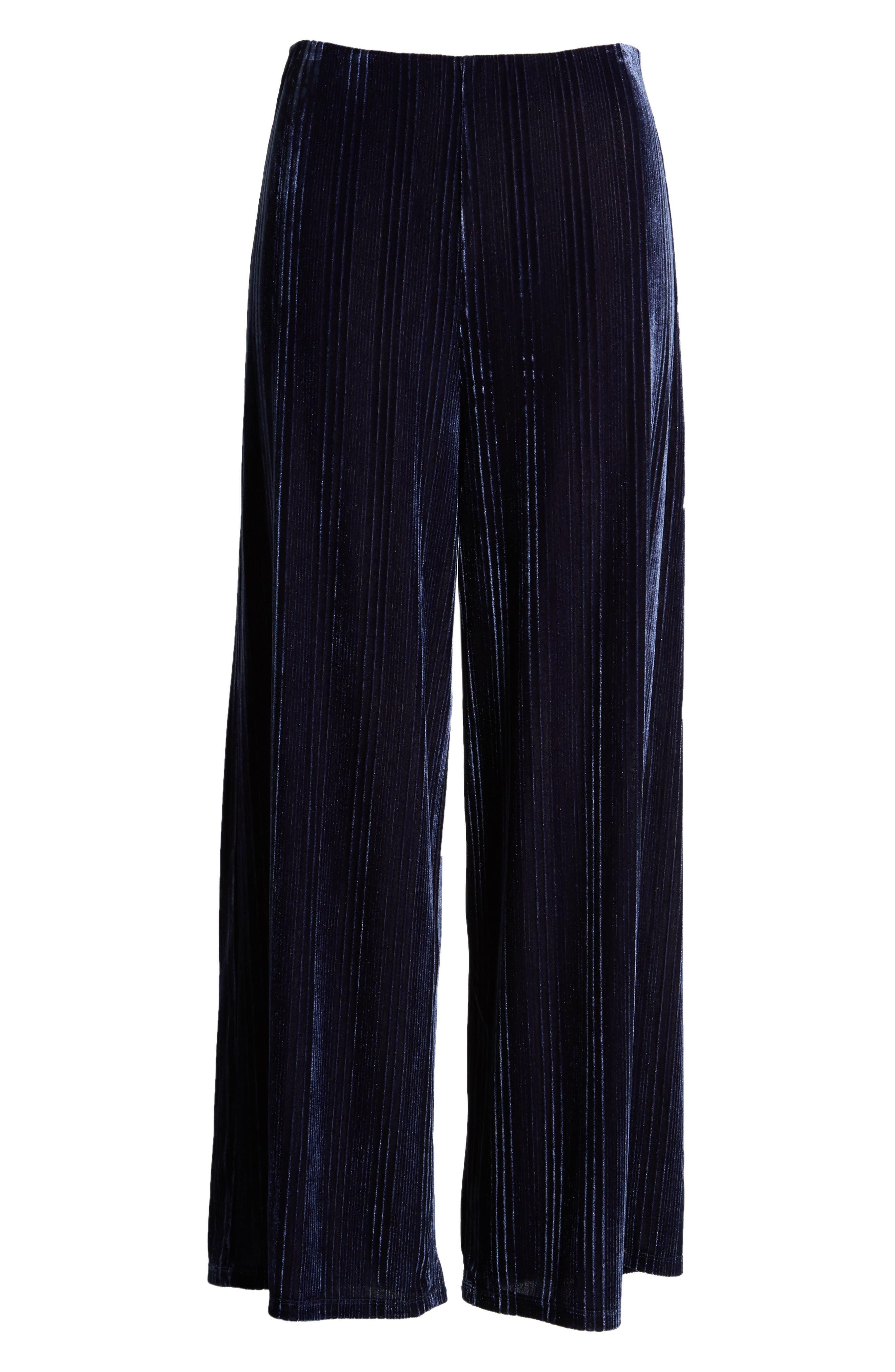 Velour Wide Leg Crop Pants,                             Alternate thumbnail 6, color,                             NAVY MARITIME