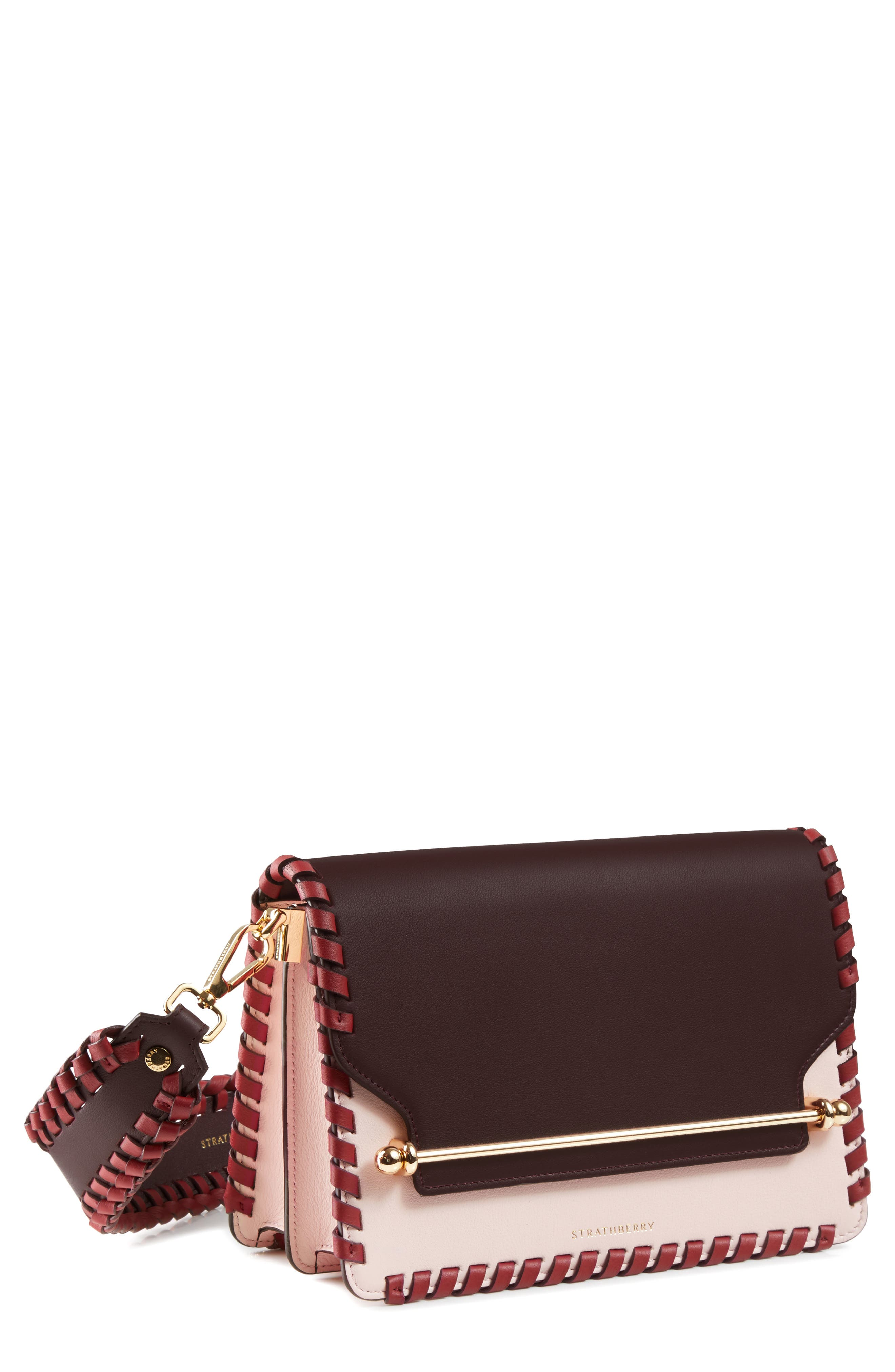 East/West Whipstitch Leather Crossbody Bag,                             Main thumbnail 1, color,                             BURGUNDY/ BABY PINK