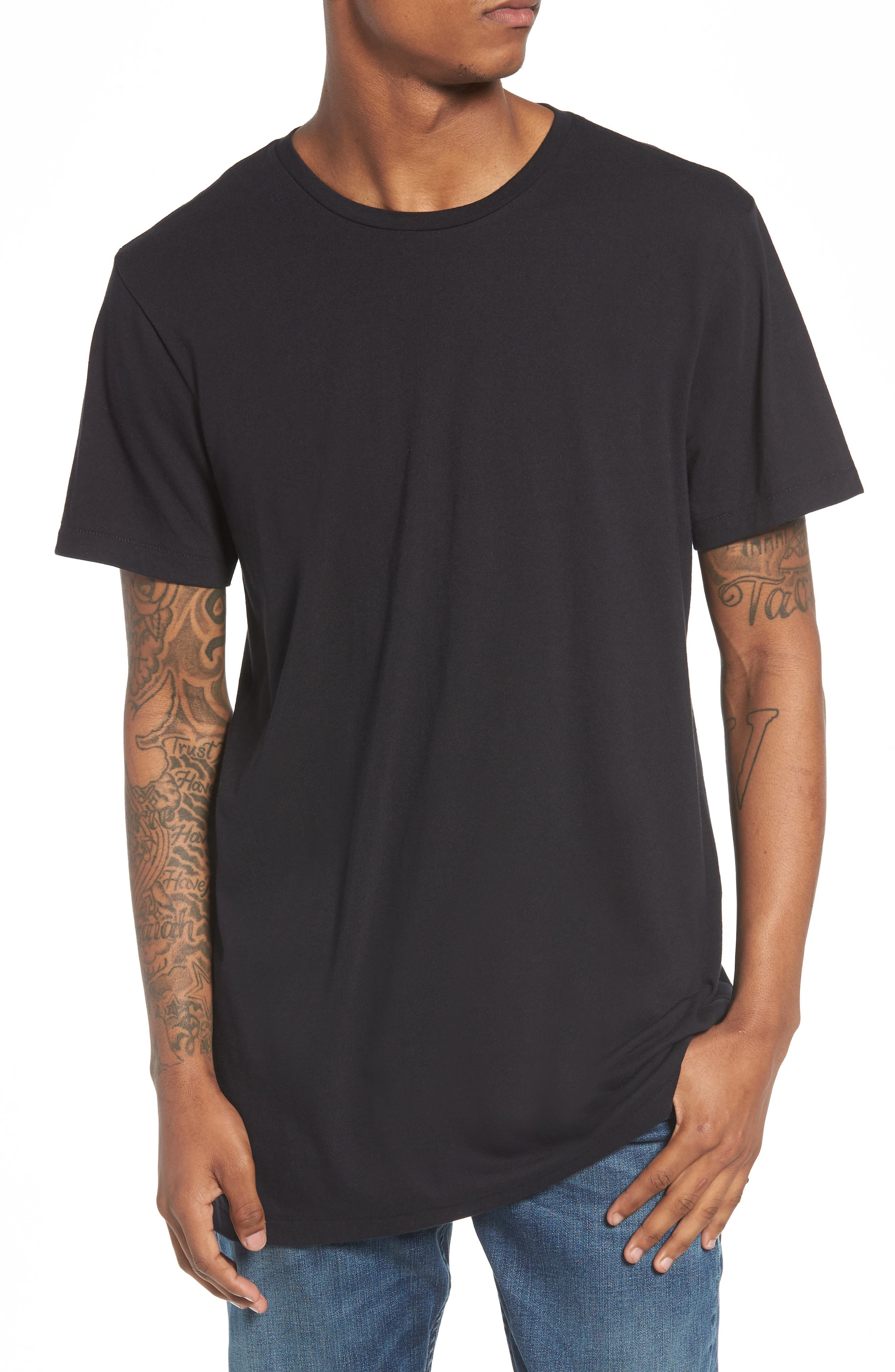Longline T-Shirt,                             Main thumbnail 1, color,                             001