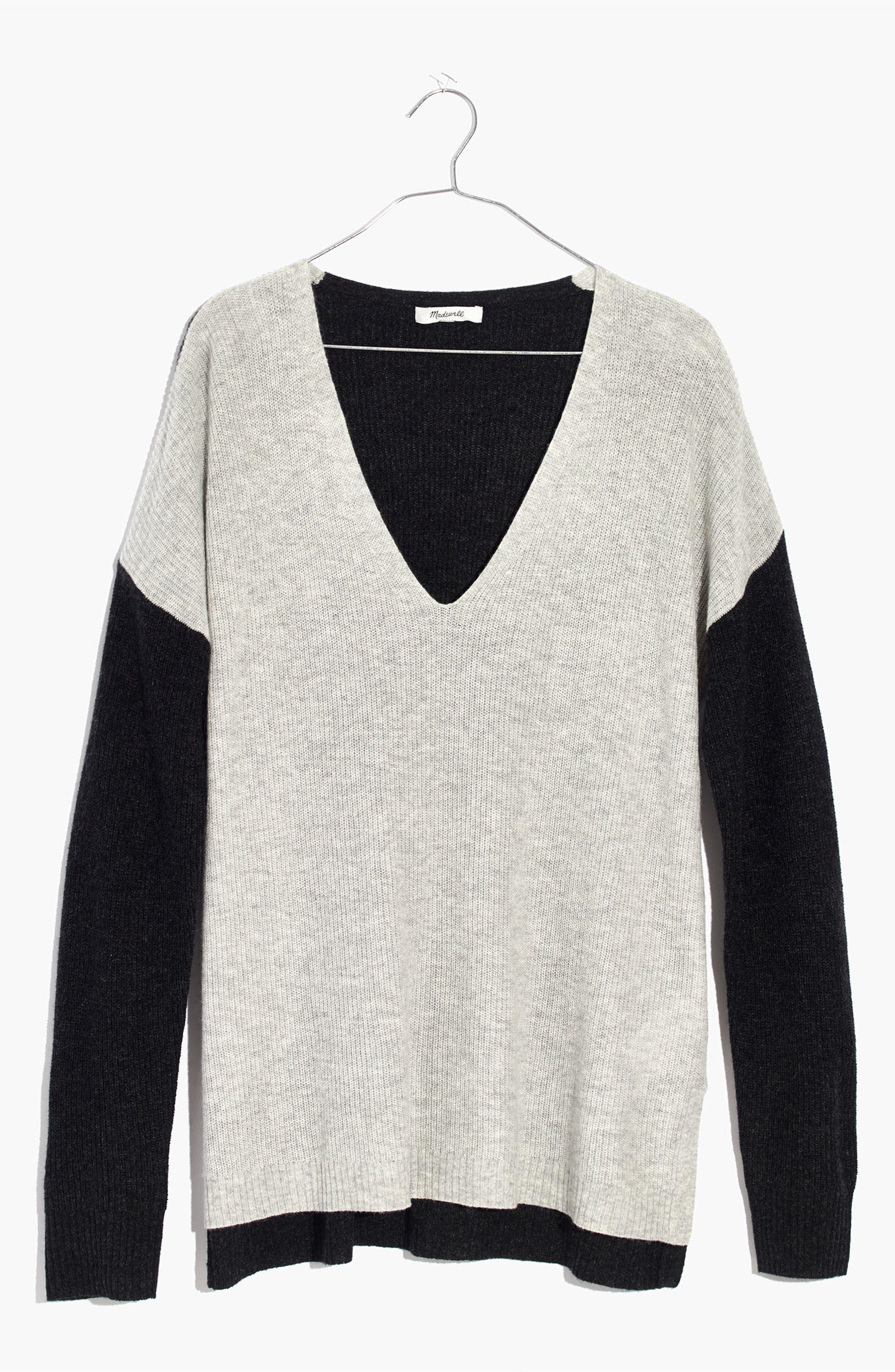 Warmlight Colorblock V-Neck Sweater,                             Alternate thumbnail 3, color,                             090