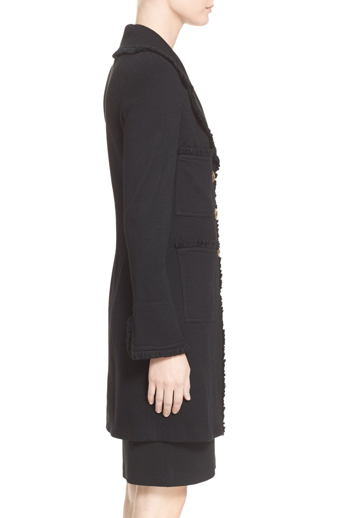 ST. JOHN COLLECTION,                             Fringe Trim Milano Piqué Knit Coat,                             Alternate thumbnail 11, color,                             CAVIAR