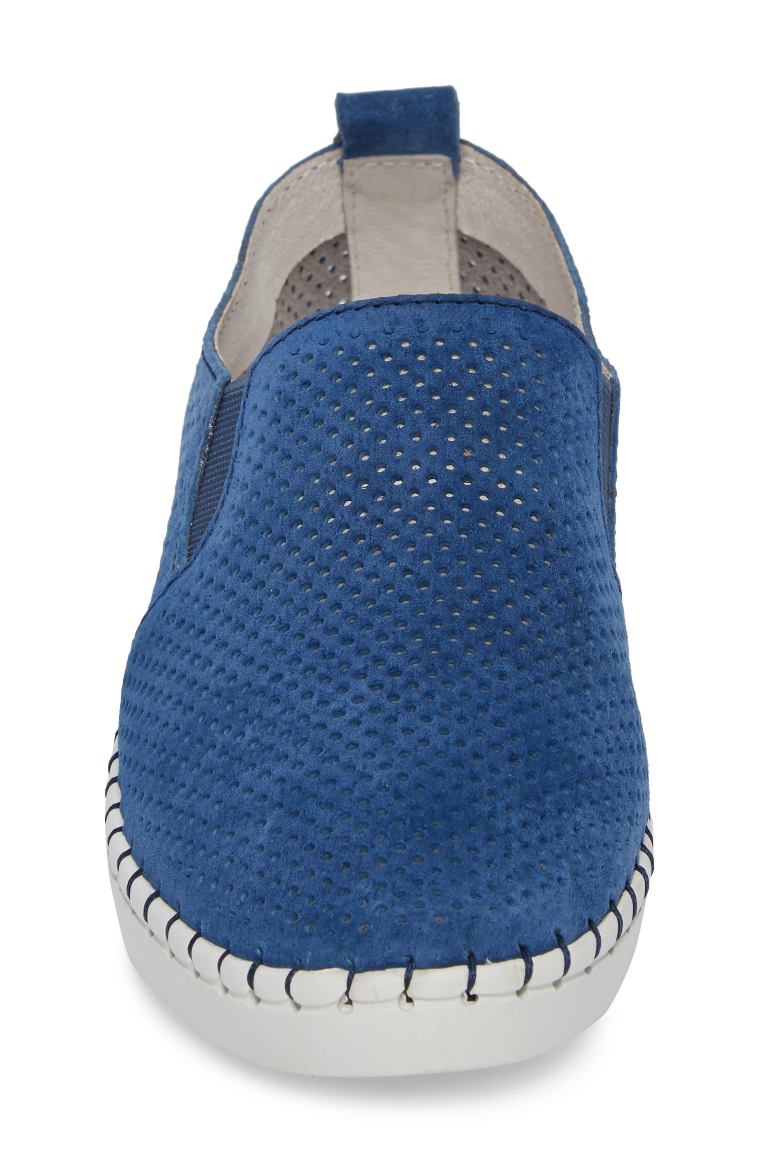 Slip-On Sneaker,                             Alternate thumbnail 4, color,                             BLUE LEATHER